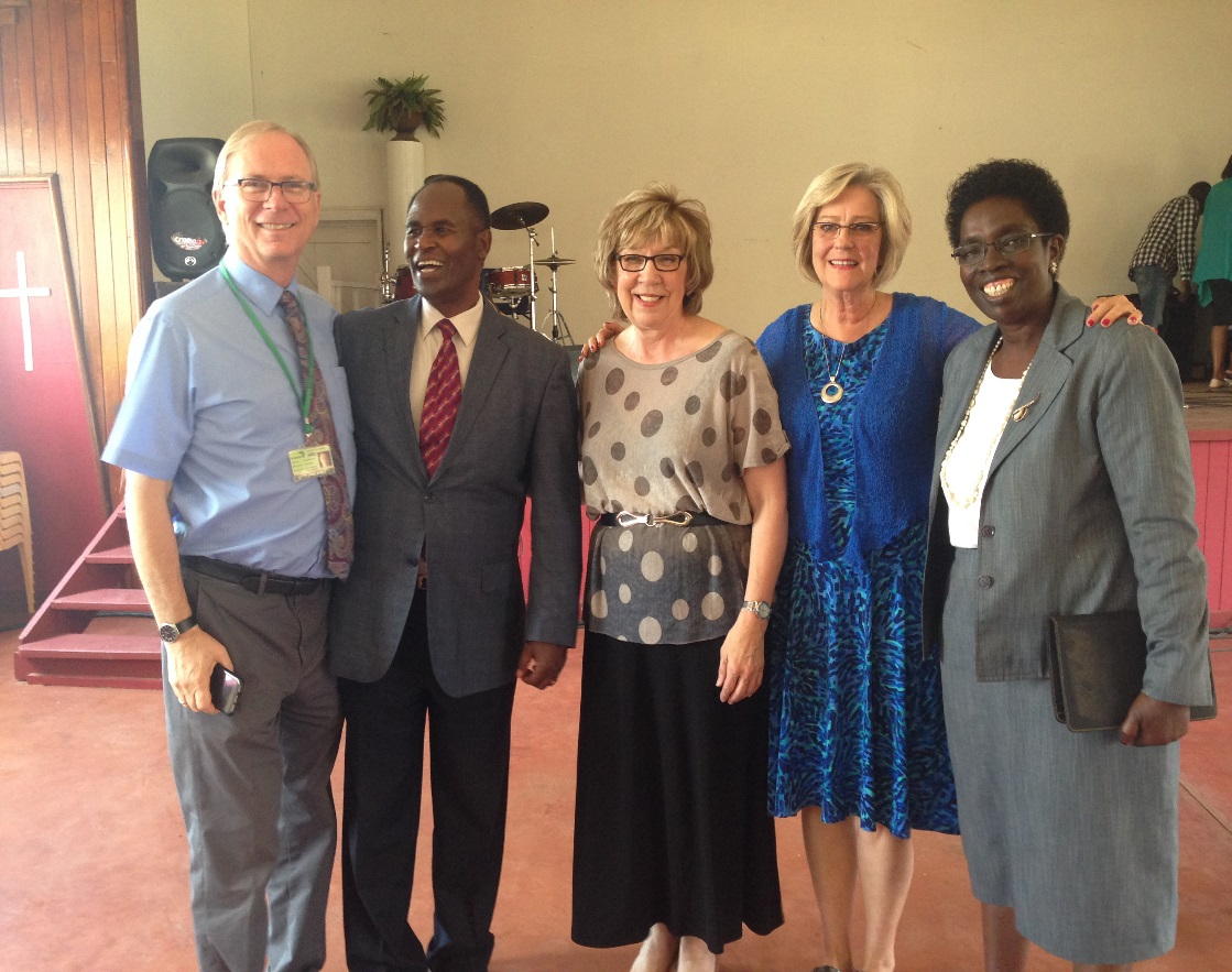 Margaret with colleagues at the Pan Africa Christian University, in Kenya