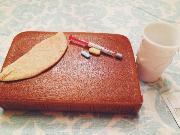 The day I began treatment. Communion Elements, Bible and Medicine.