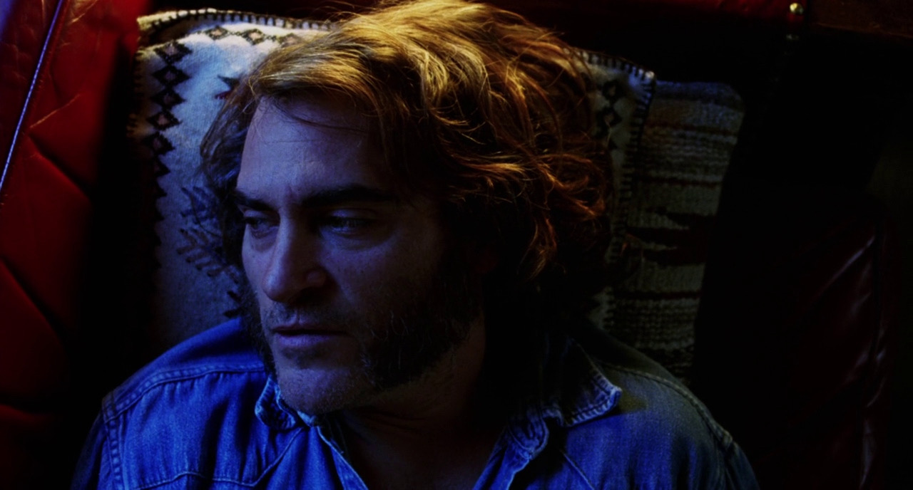 """Inherent Vice - I know the colors here are a bit much - but I like how they take motivated sources and exaggerate them. Thinking about the dorm rooms and the other mundane spaces. Ways to light from the """"windows"""" the """"alarm clock"""" the """"laptop"""" - accentuating diegetic light sources to create a mood and transform the space."""