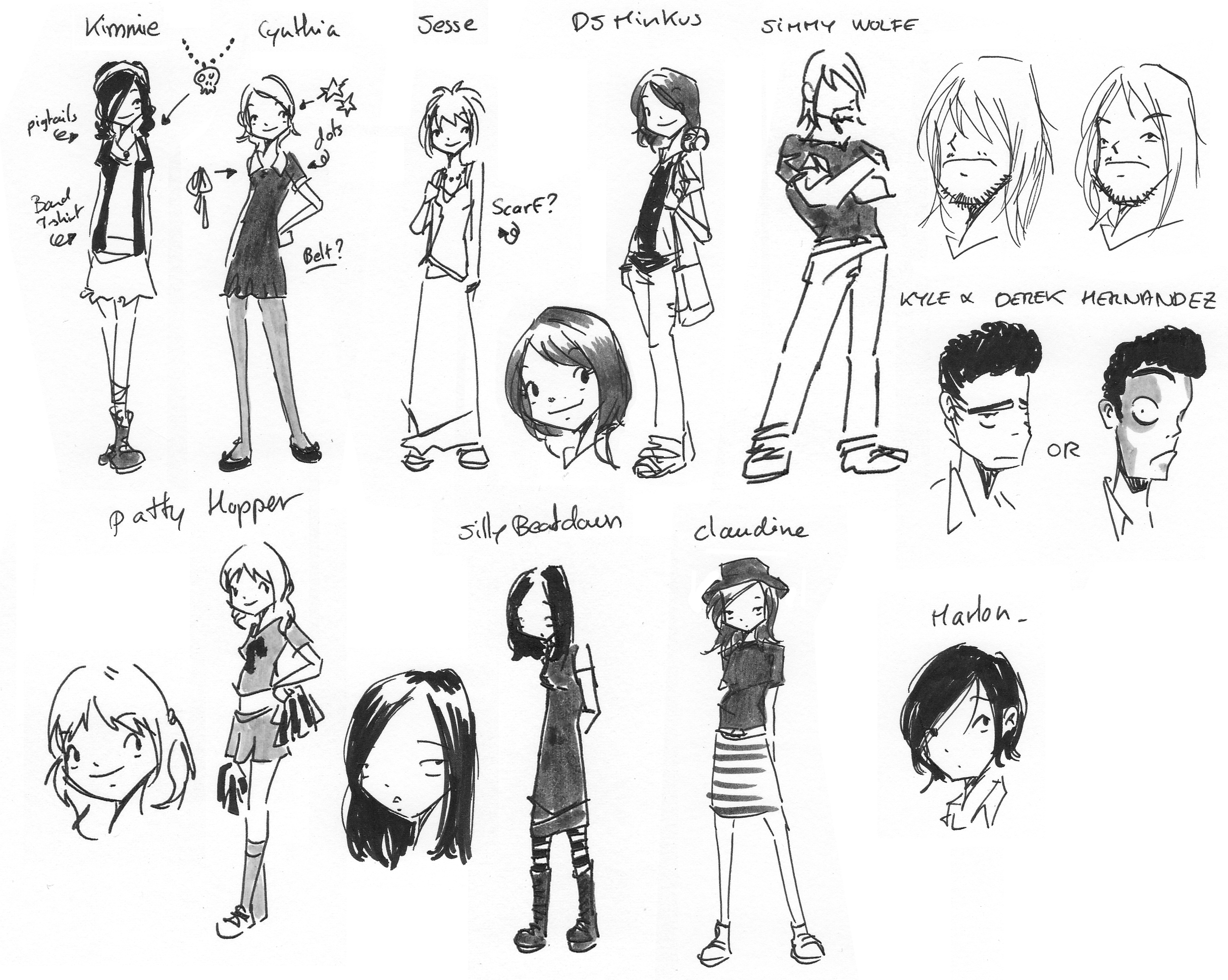 spell checkers vol3 main characters roughs.jpg