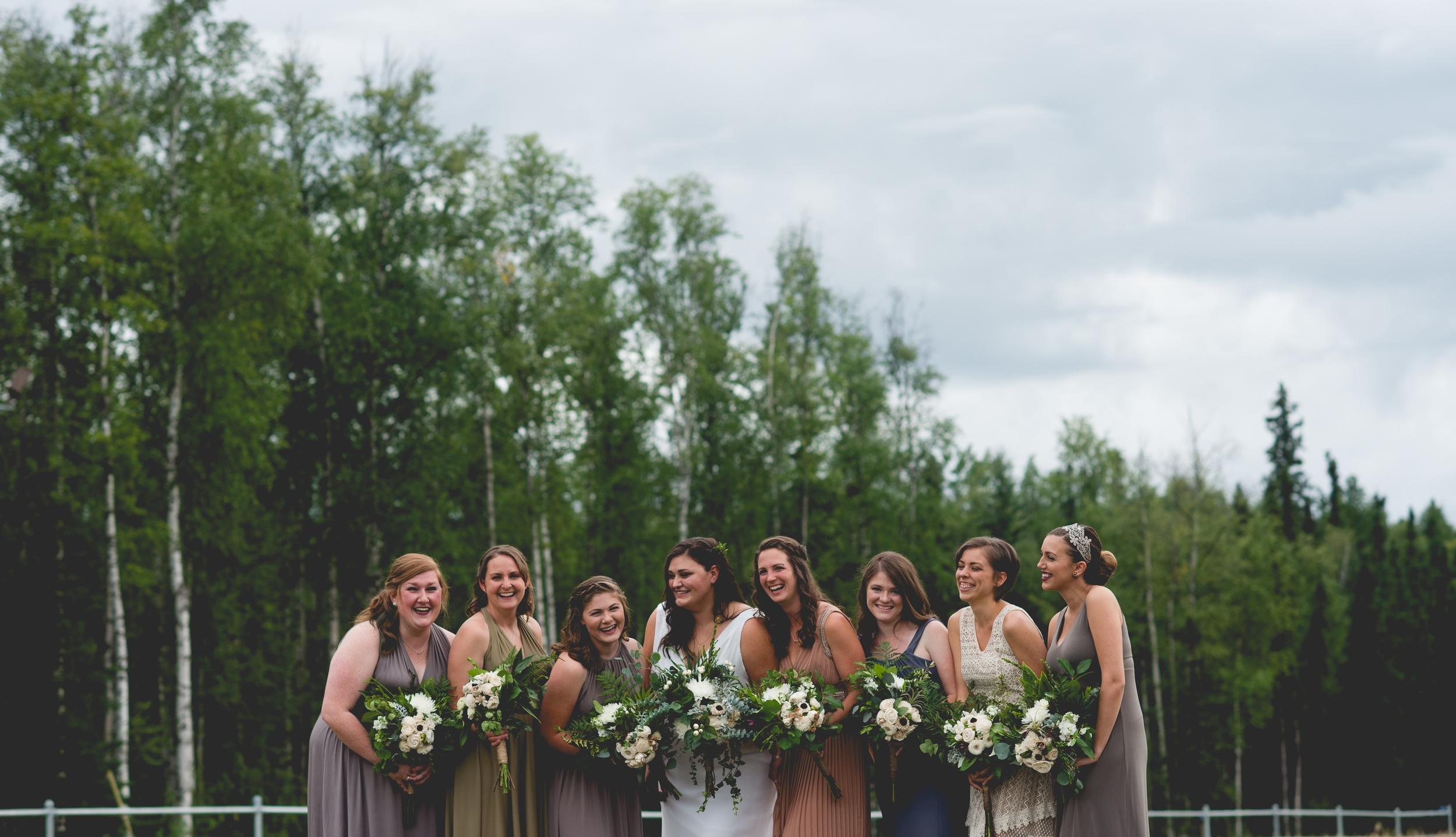 Destination Wedding Bridesmaids Portrait By Brett Loves Elle Photography, Columbus Wedding Photographers. Alaska Wedding