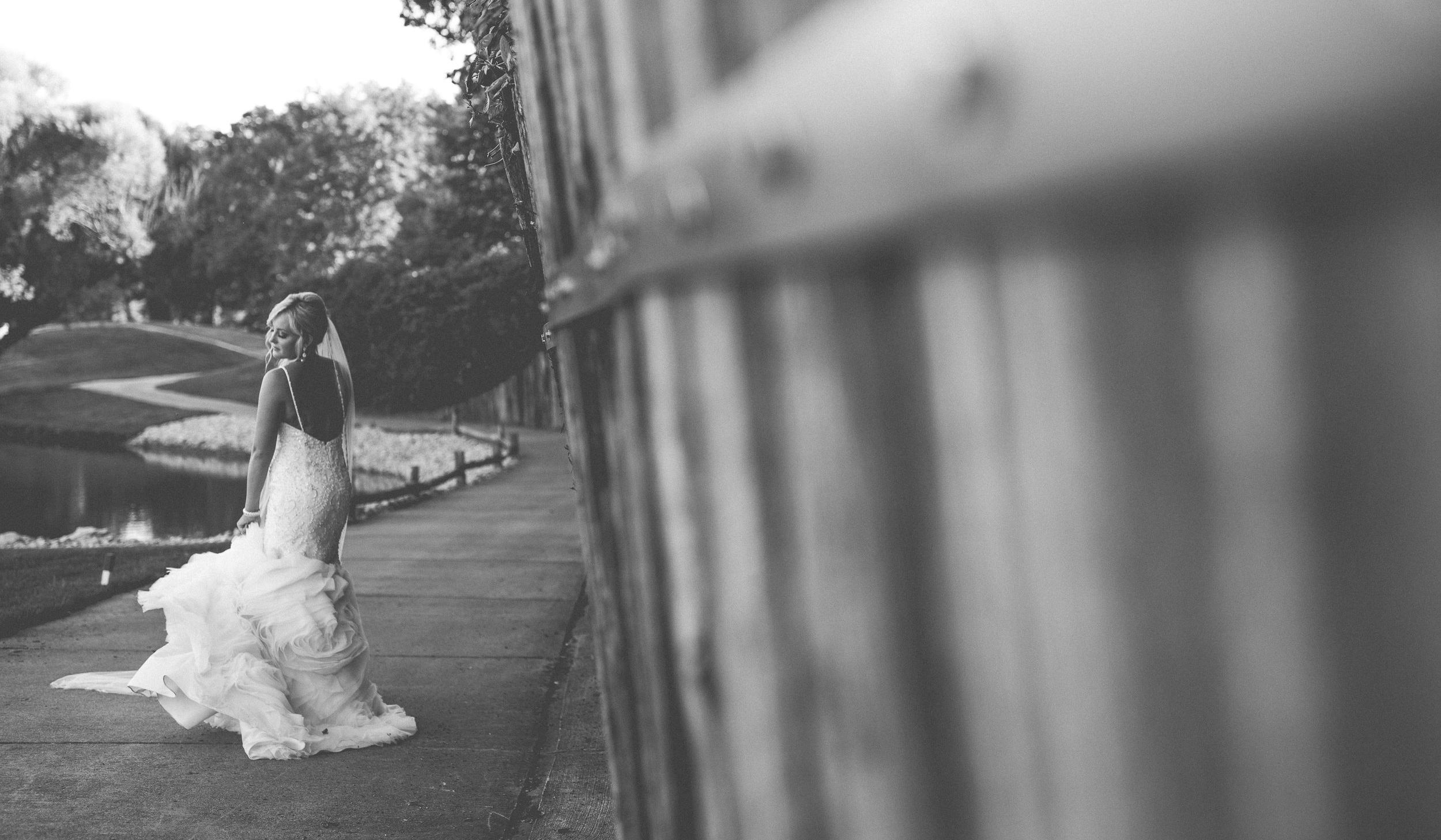 Black and White Bridal Portrait By Brett Loves Elle Photography, Columbus Wedding Photographers.