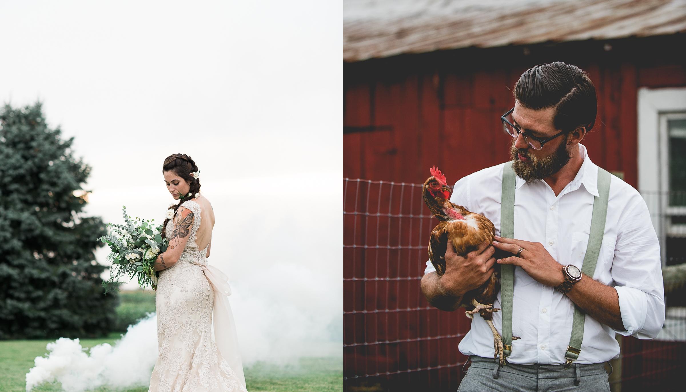 Boho Bride and Groom Portrait By Brett Loves Elle Photography, Columbus Wedding Photographers.