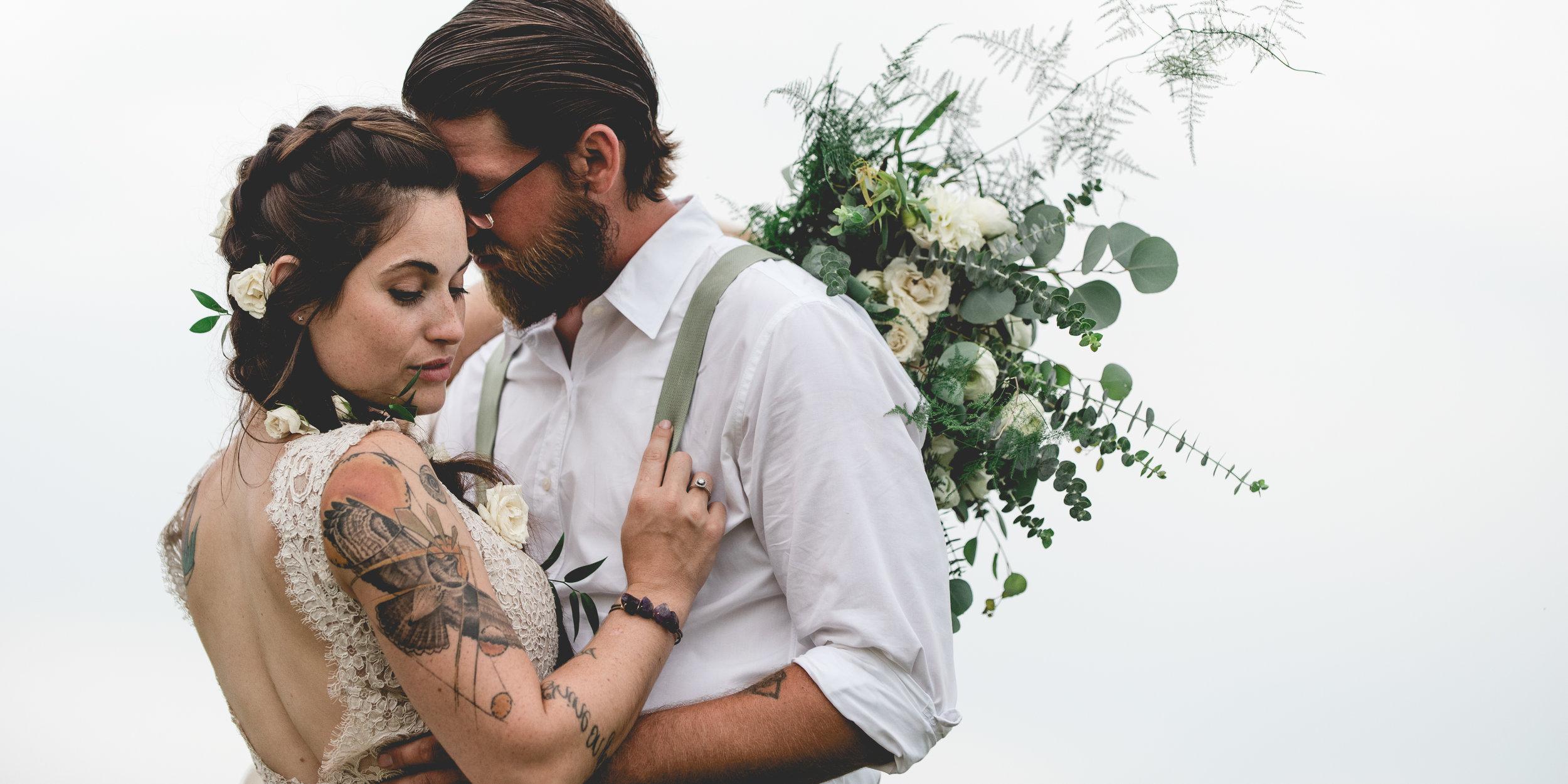 Beautiful Boho Bride and Groom. Married on a family farm in Ohio. Columbus Wedding Photographers