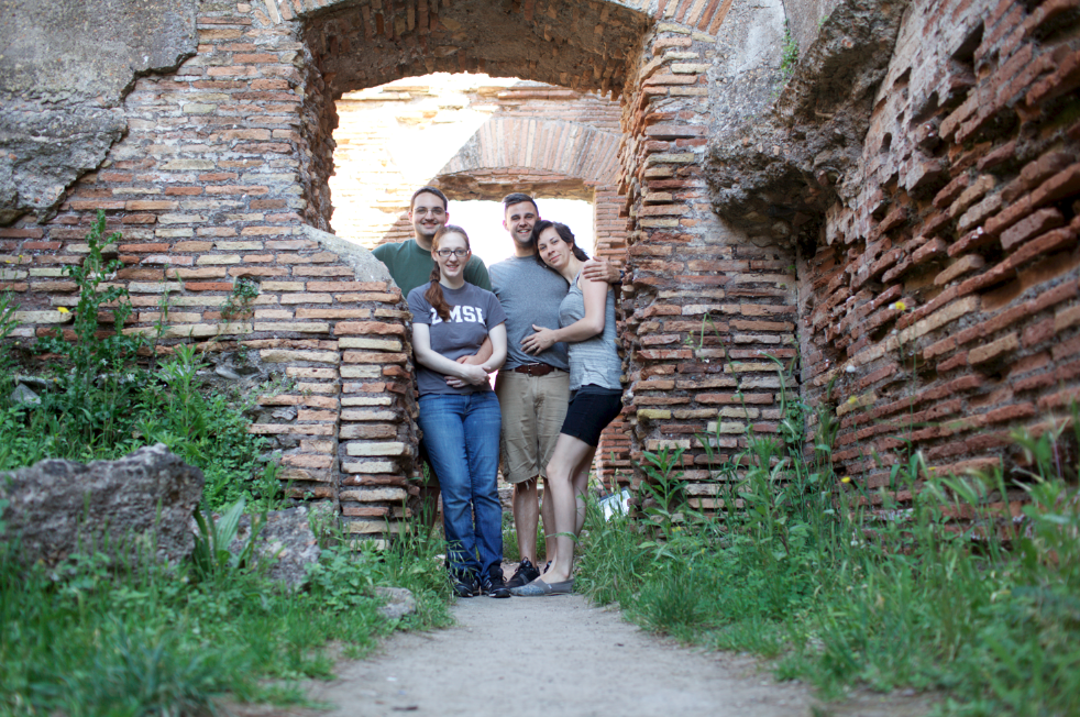 Visiting ancient ruins less than one mile from the Gandolfo's apartment where we are staying.