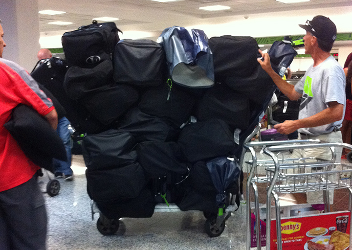 We have a lot of luggage! Most of it is equipment for the baseball camp we will be conducting.
