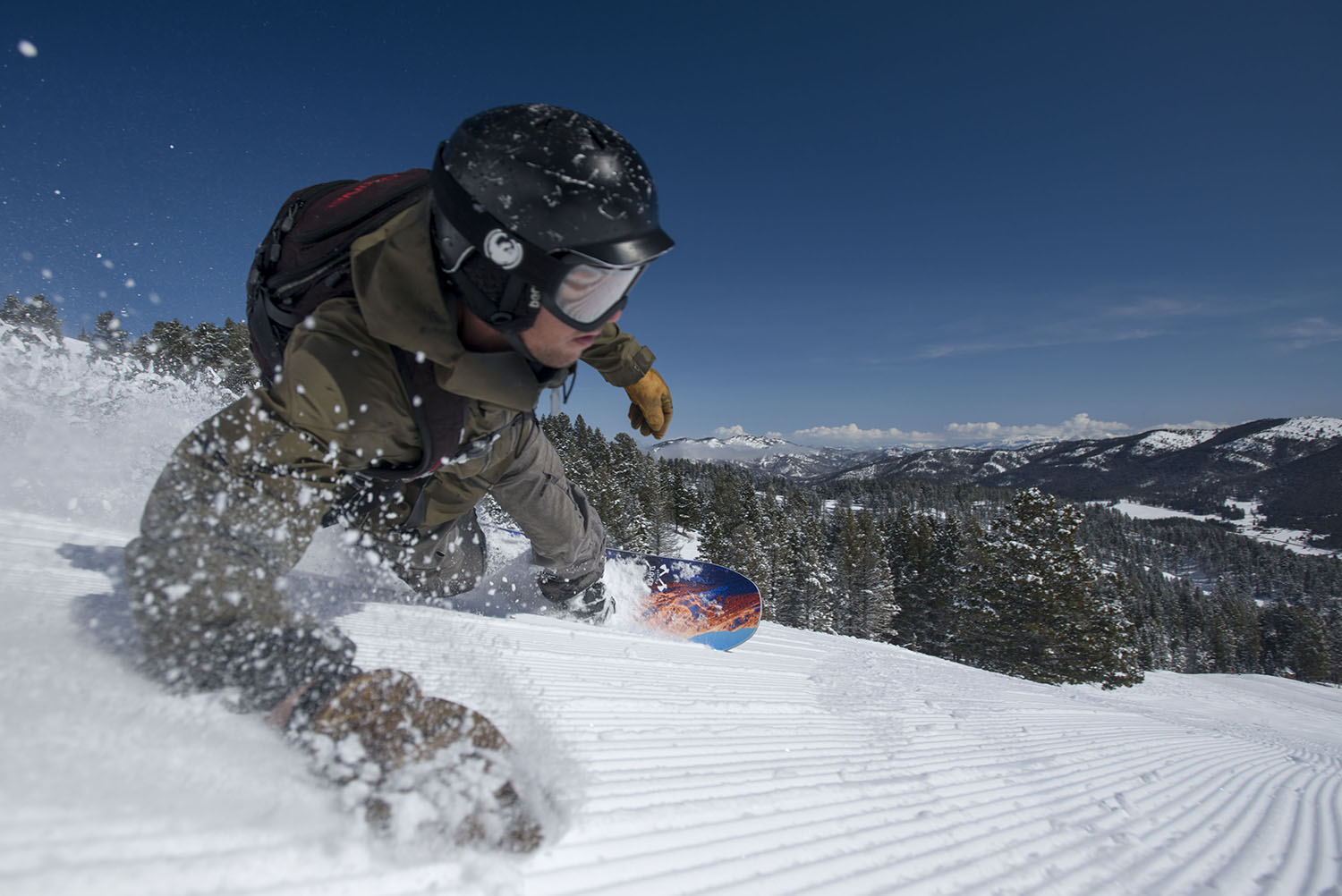 If the corduroy fits, shred it.  Kyle Cremer stitches the fabric at Bridger Bowl.