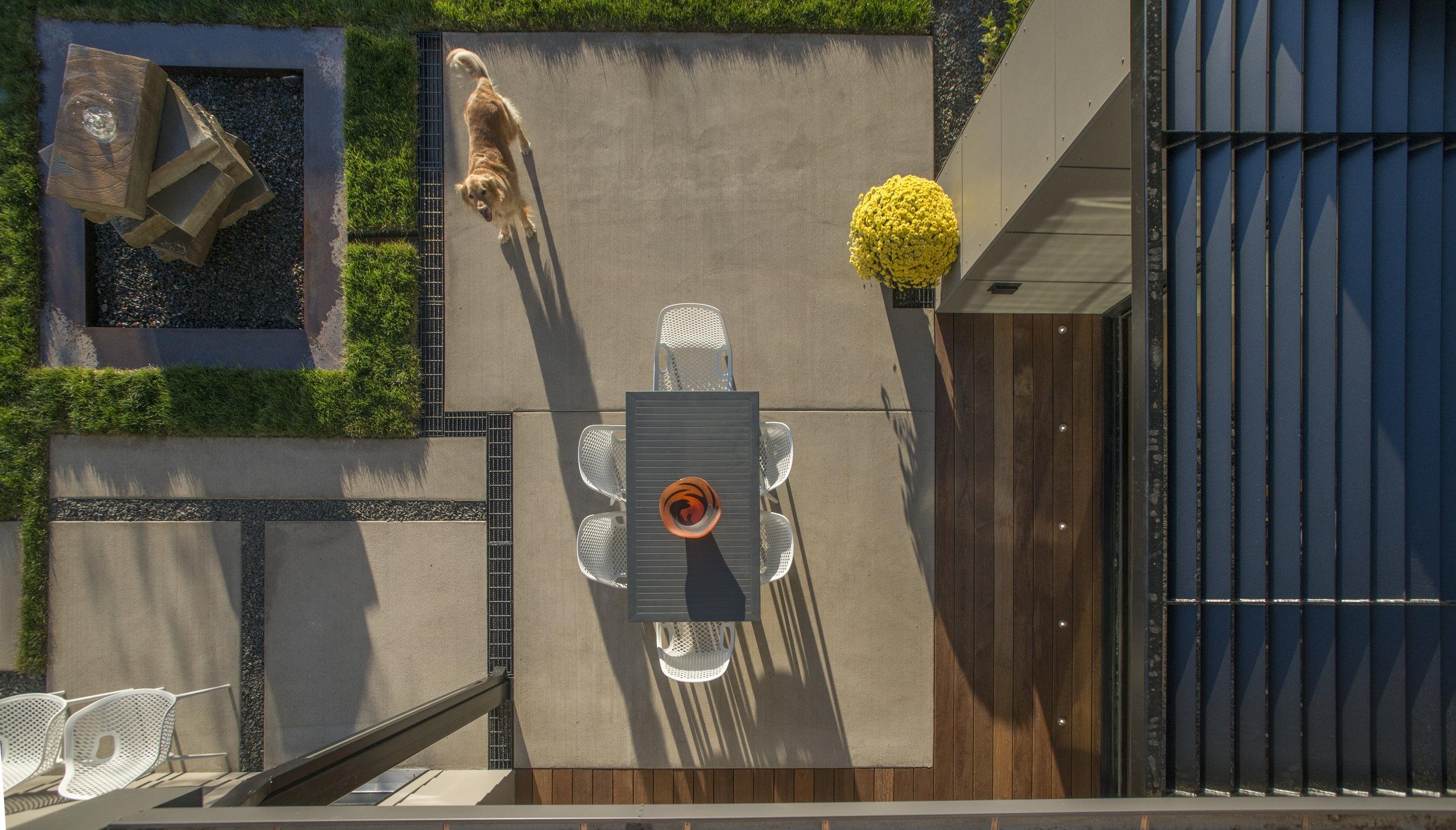 Every dog's dream yard  - Feng Shui and a recirculating drinking fountain. Trimbach Builders, Bozeman