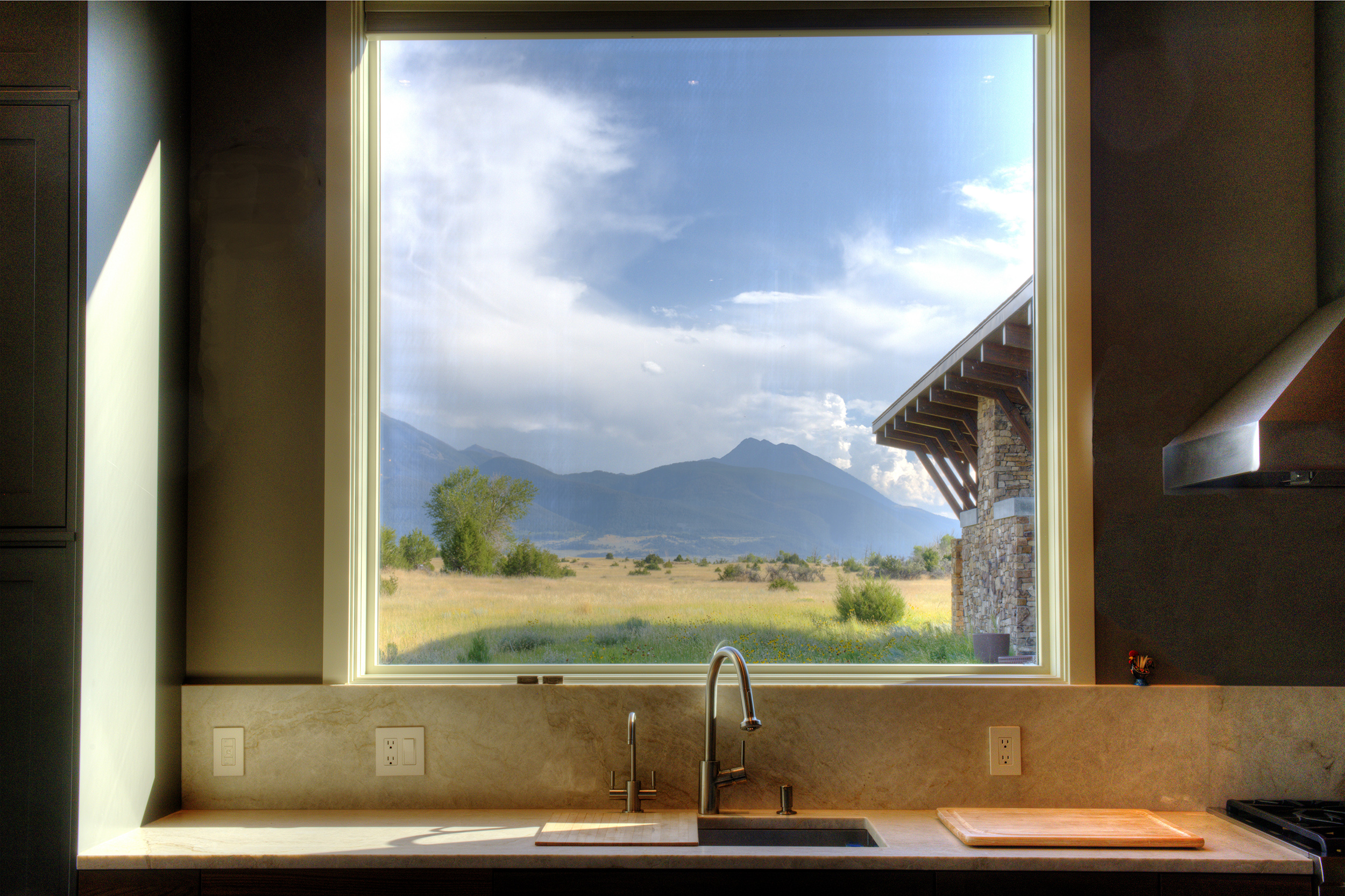 Kitchen with a view, Fish Camp Builders.  Paradise Valley, Montana