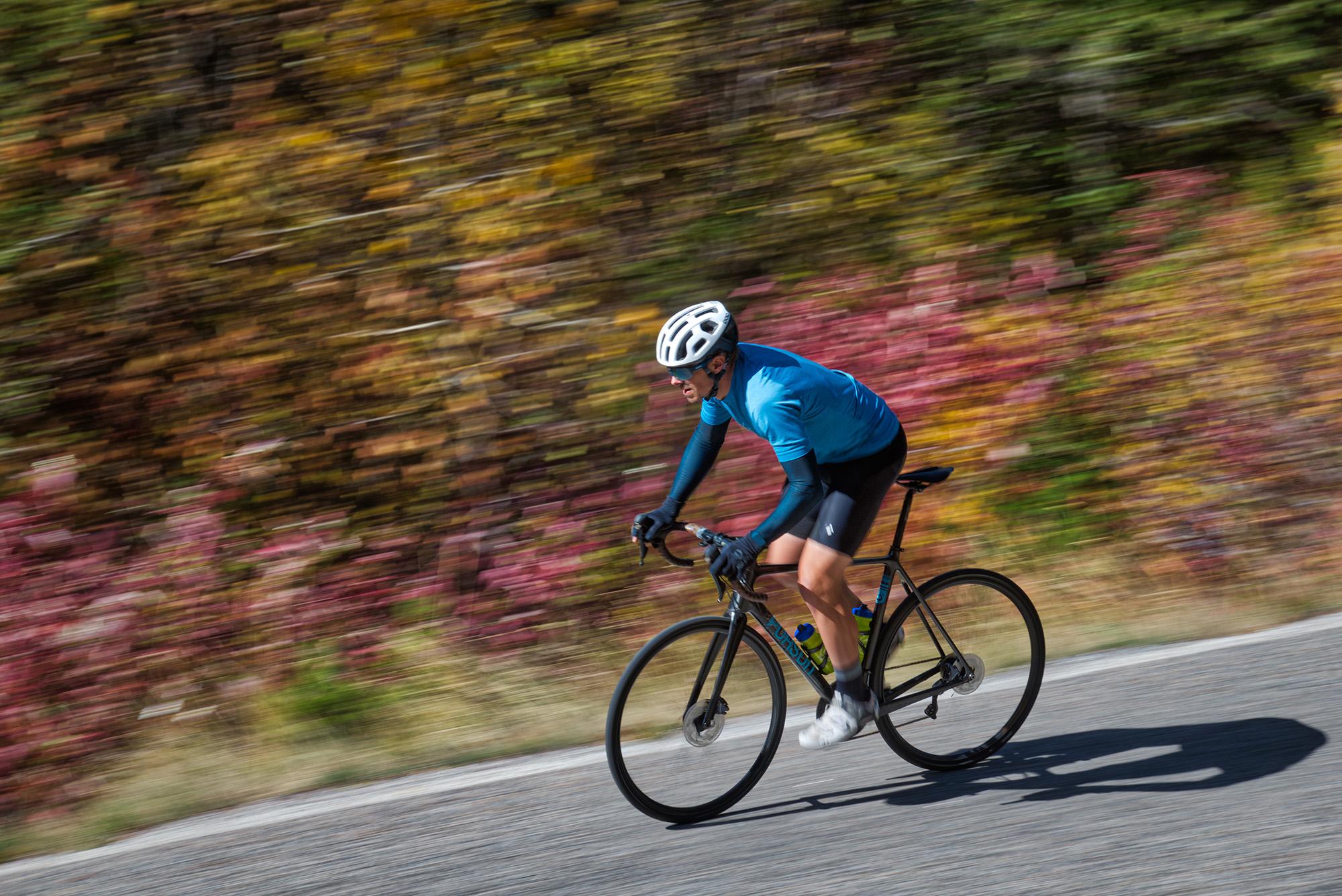 Jeff Wyatt rides a Pursuit carbon fiber road bike on Hyalite Canyon Road near Bozeman, Montana