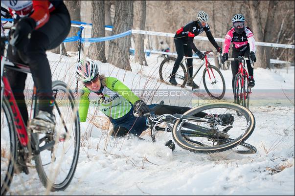oops. Frozen rut got Kristal on the first lap! ©www.sportifimages.com