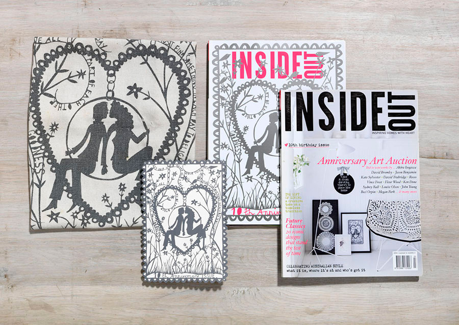 InsideOut 10th birthday issue, collectors edition & product usingcommissioned papercut artwork by Rob Ryan