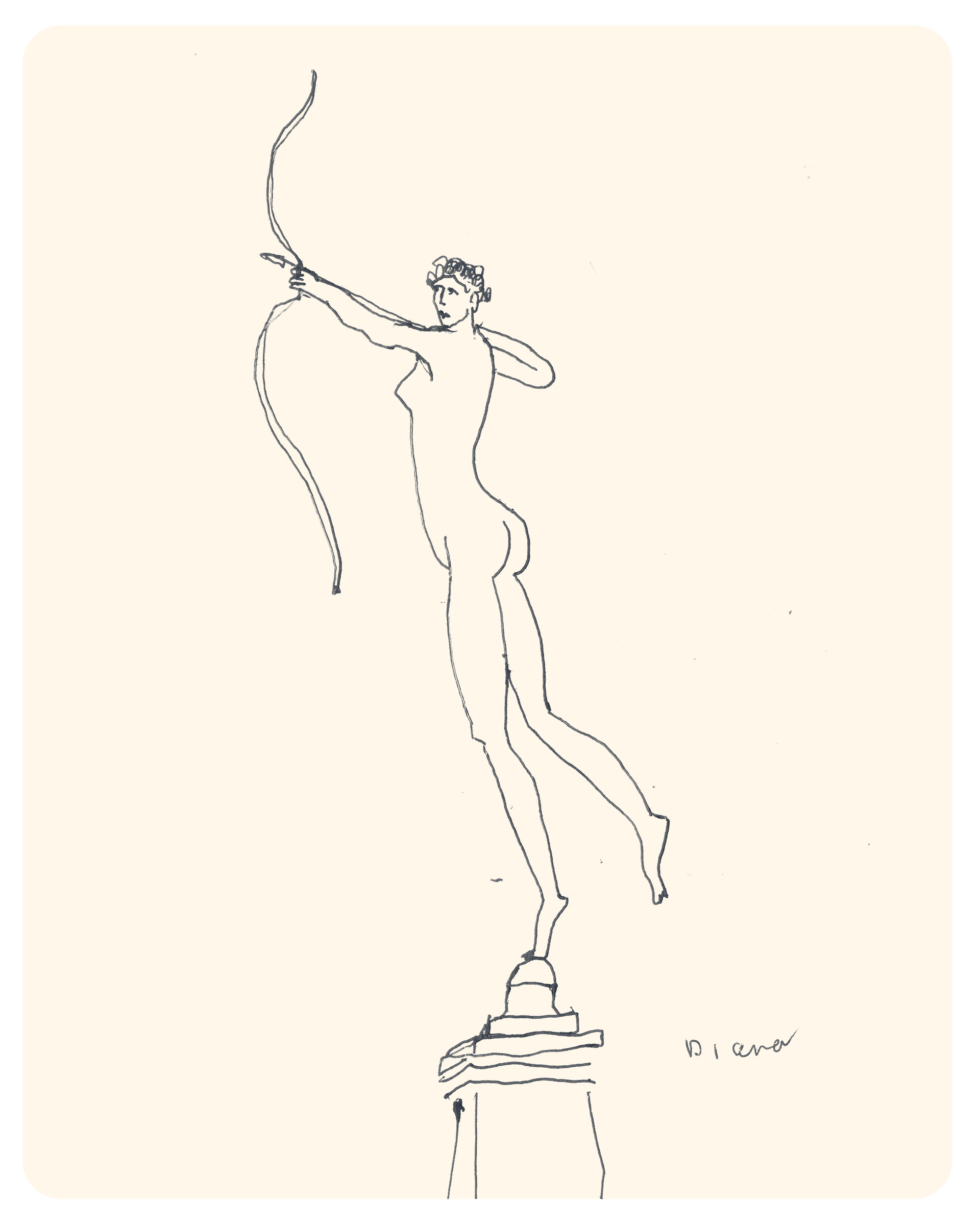 Sketch of Diana statue by Tom Froese