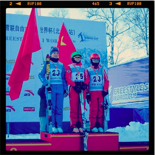 Ashley is pictured on the left of the podium. Photo courtesy of US Ski Team Instagram.