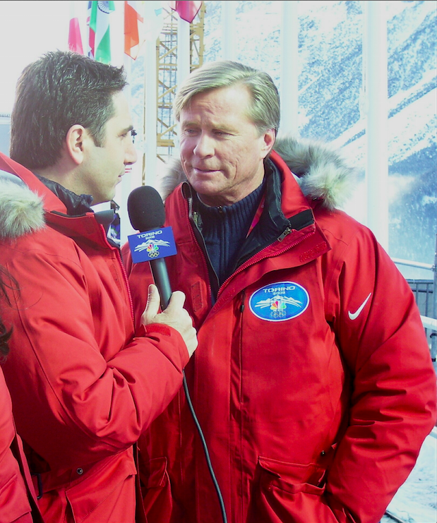 John as a member of NBC's Bobsled and Skeleton broadcast team in 2006.
