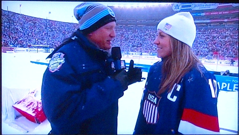 Being interviewed on NBC during the 2014 Winter Classic, by US Olympic alumni NBC on NHL's Jeremy Roenick.
