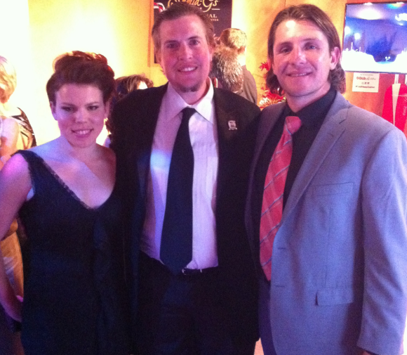 Brant Feldman in the center flanked by clients Olympic medalists, Caitlin Cahow (US - Women's Hockey) and Tony Azevedo (US - Men's Water Polo) at the 2014 Golden Globe Awards.