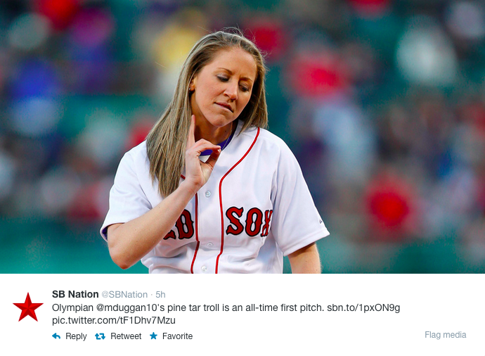 One of the many media tweets about what happened at Fenway Park with Meghan Duggan getting a little extra before she threw out the first pitch.