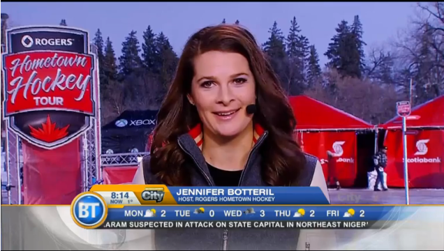 Jennifer is a member of the Rogers Hometown Hockey broadcast team that travels nationally each week of the NHL Regular Season throughout Canada. The 2015-16 season is the second of the show and Jennifer's second as well.