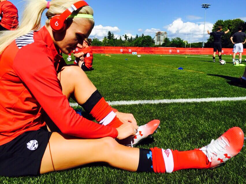 FIFA 2015 World Cup knockout round shoes with wireless Beats by Dre at practice in Vancouver.
