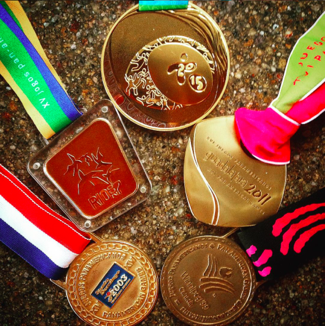 These are Tony's 5 consecutive Pan Am Games Gold Medals from 2015 Toronto, 2011 Guadalajara, 2007 Rio, 2003 Santo Domingo and 1999 Winnipeg. (photo credit - Tony Azevedo)