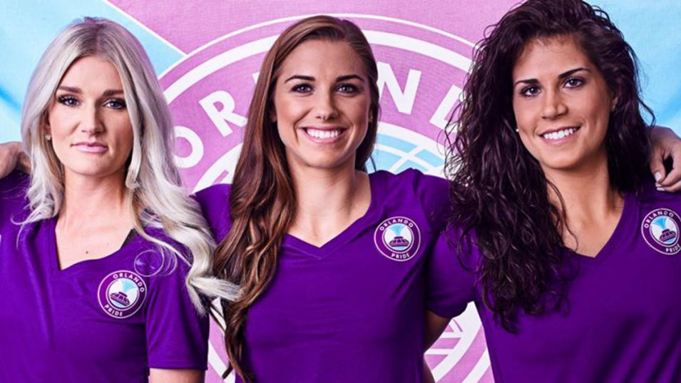 Kaylyn Kyle with Alex Morgan and Sarah Hagen - October 12, 2015 courtesy of Orlando Pride.
