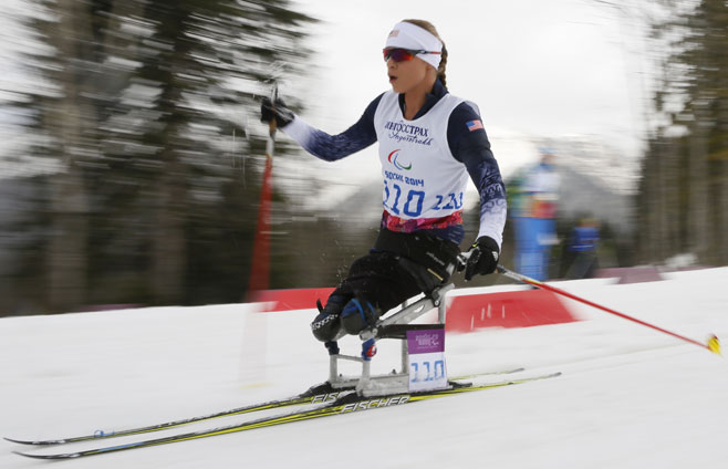 Courtesy (AP Photo) Oksana in action at the 2014 Paralympic Games in Sochi.