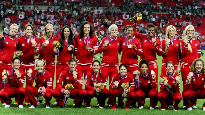 Canada's women's soccer team with their Bronze Medals earned at the 2012 Summer Olympics at London's Wembley Stadium.