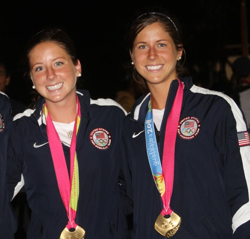 Julia & Katie Reinprecht pictured at the 2011 Pan Am Games in Guadalajara, MEX with their Gold medals.