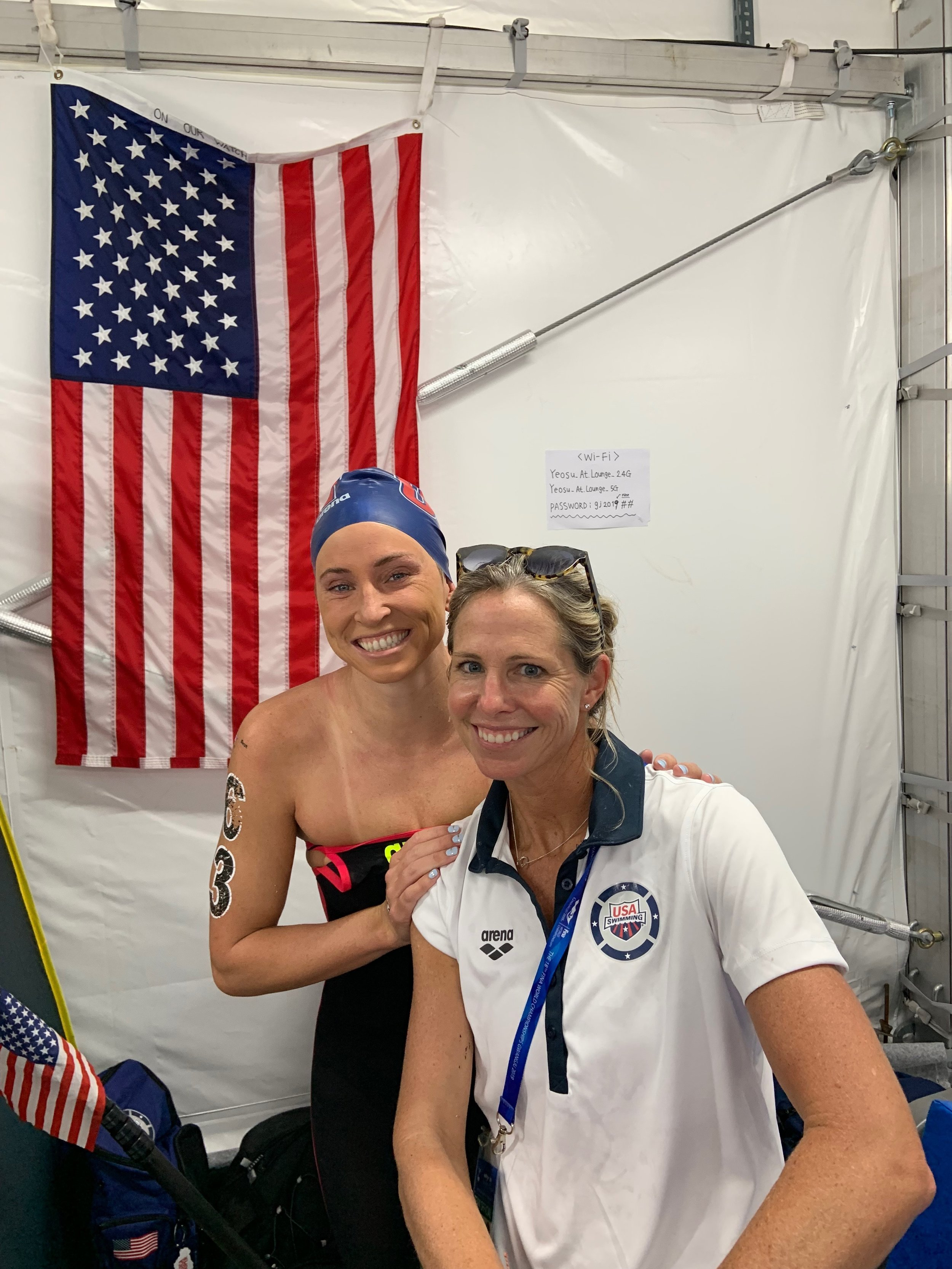 Post 10K race at the FINA 2019 World Championship with personal coach / U.S. Open Water Head Coach Catherine Vogt-Kase and Haley.