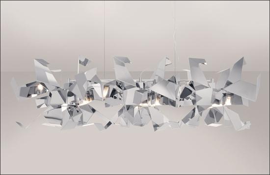 Горизонтальная композиция из абажуров Glow серии Super Mirror