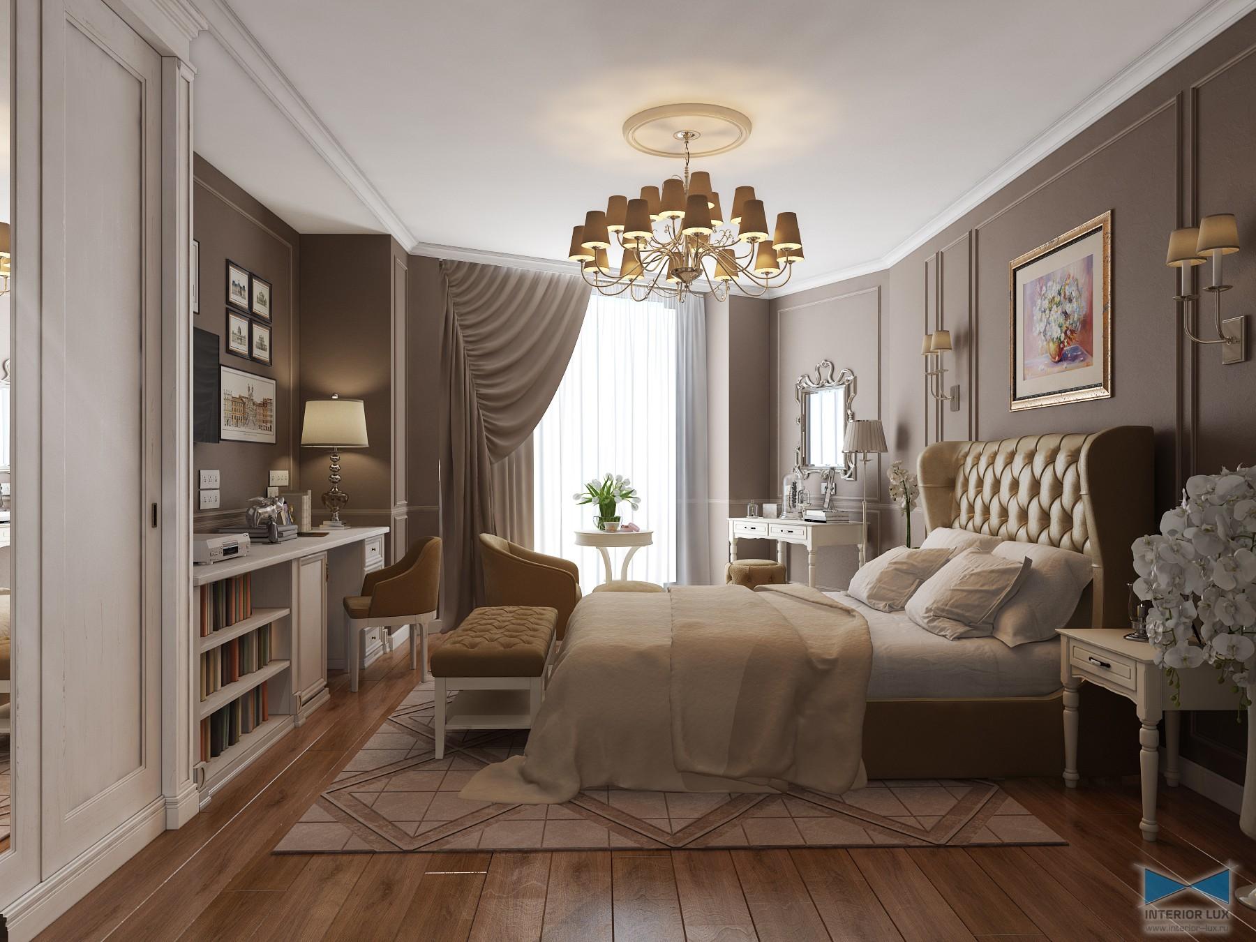Интерьер этой спальни иллюстрирует концепцию многопланового освещения: в дополнение к люстре комната оснащена парой бра в изголовье кровати, торшером рядом с туалетным столиком и настольной лампой у письменного стола.