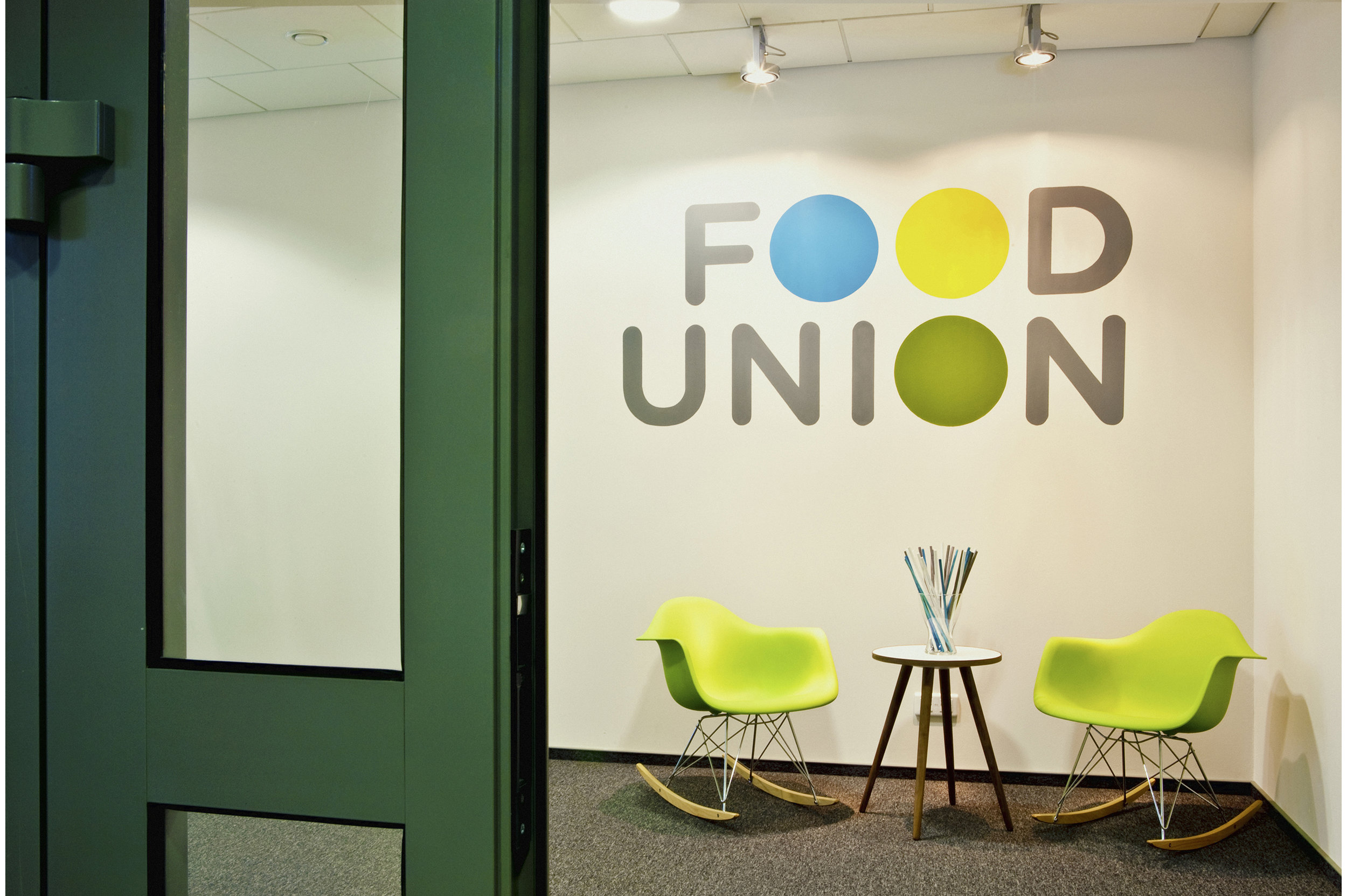 Food Union office interior. Entrance area