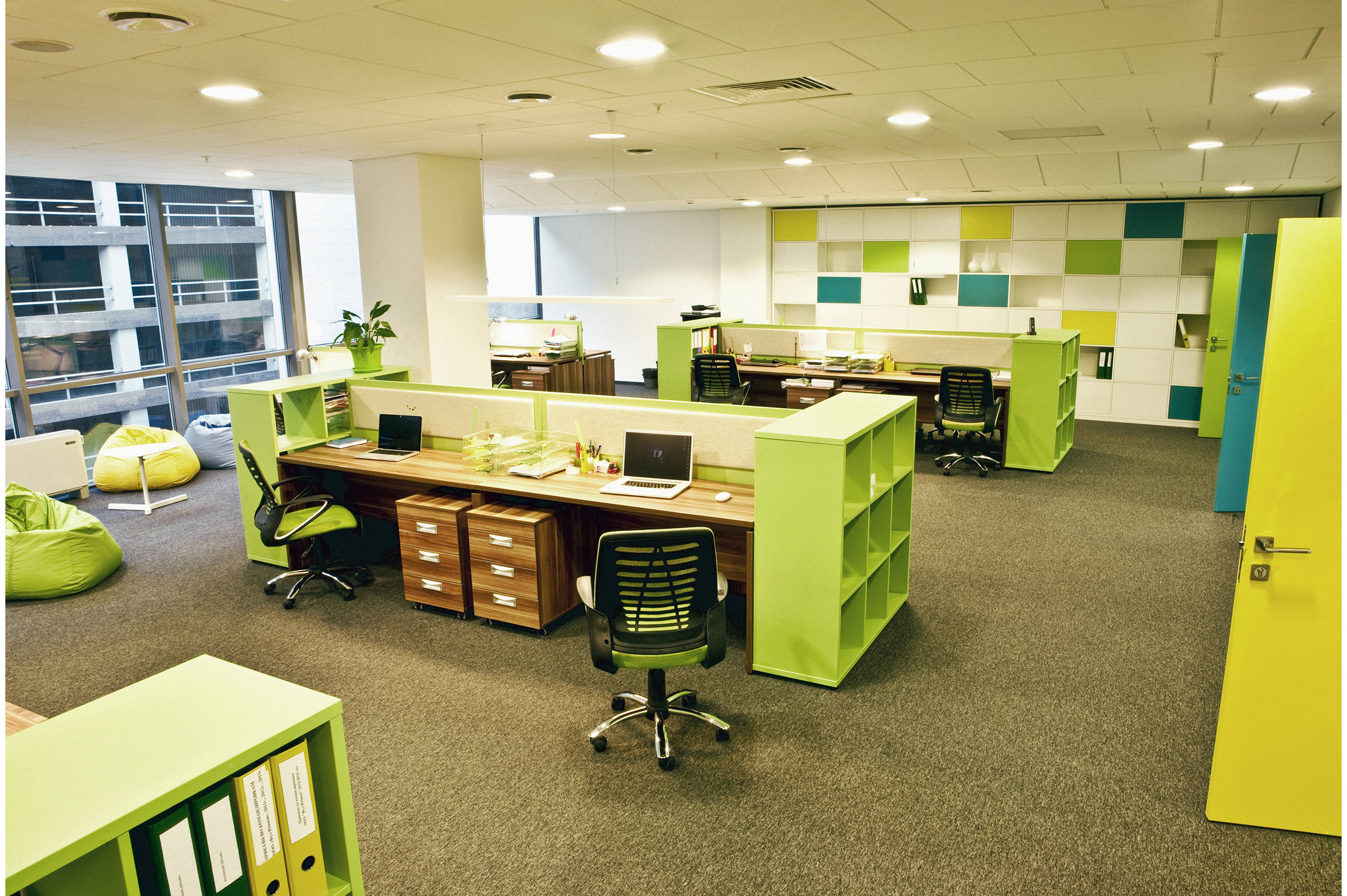 Office interior with bright colours