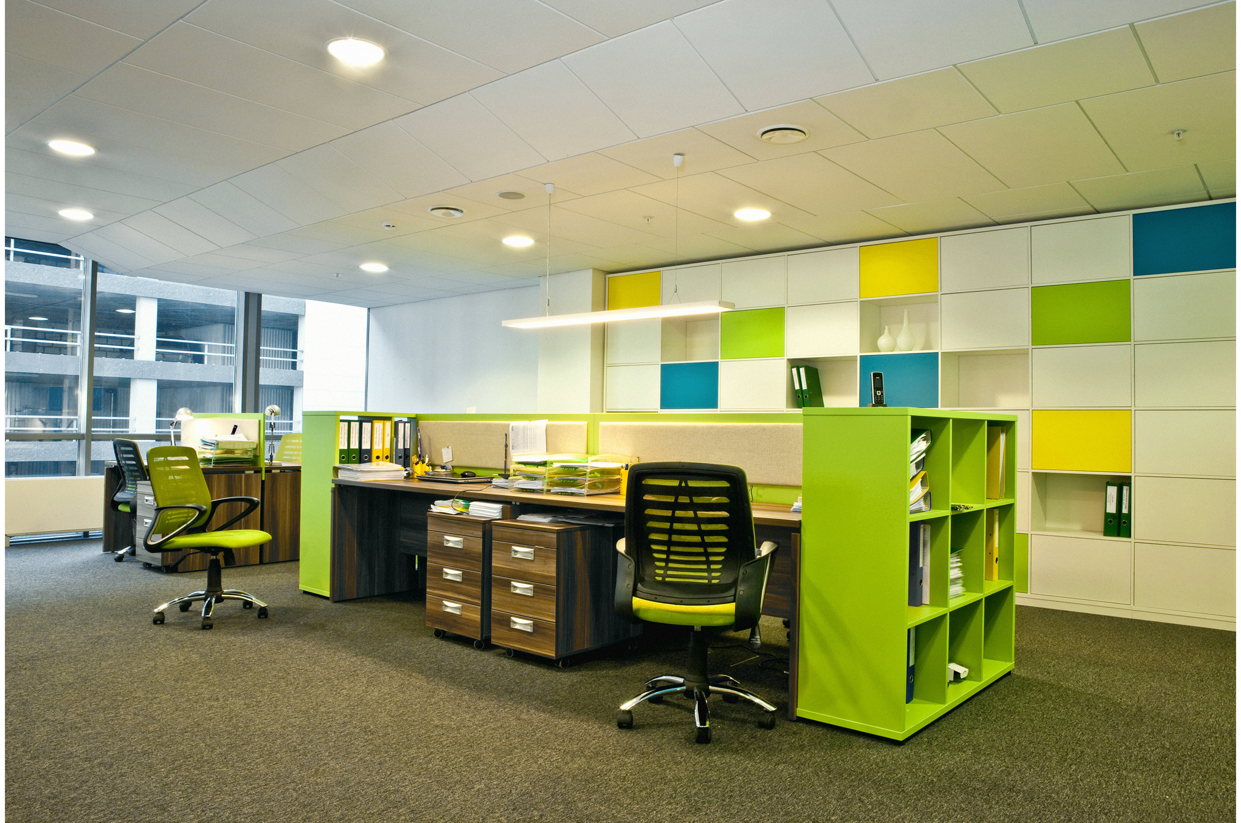 Office interior with bright colors