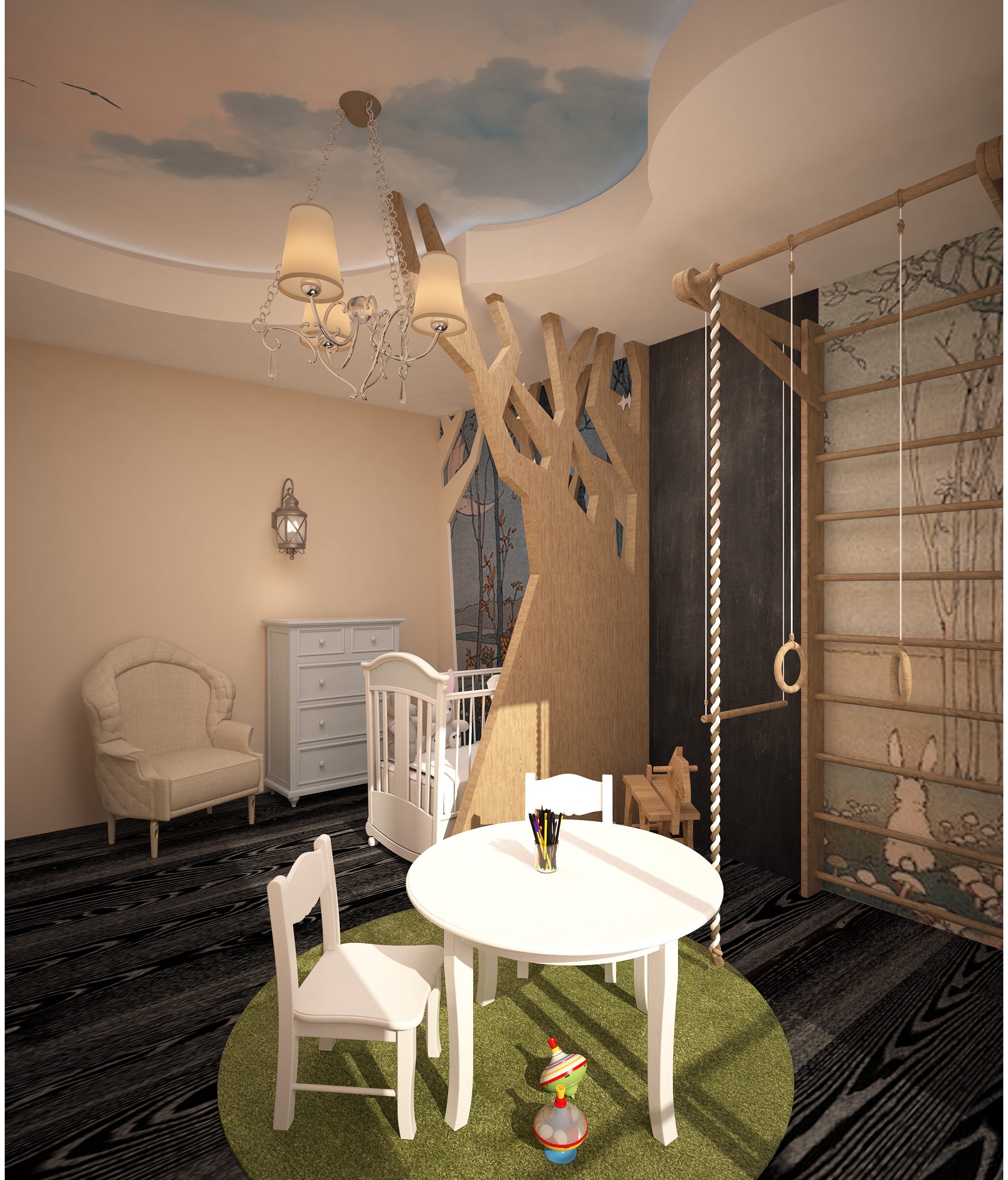 Nursery interior. Suspended ceiling in the shape of clouds.