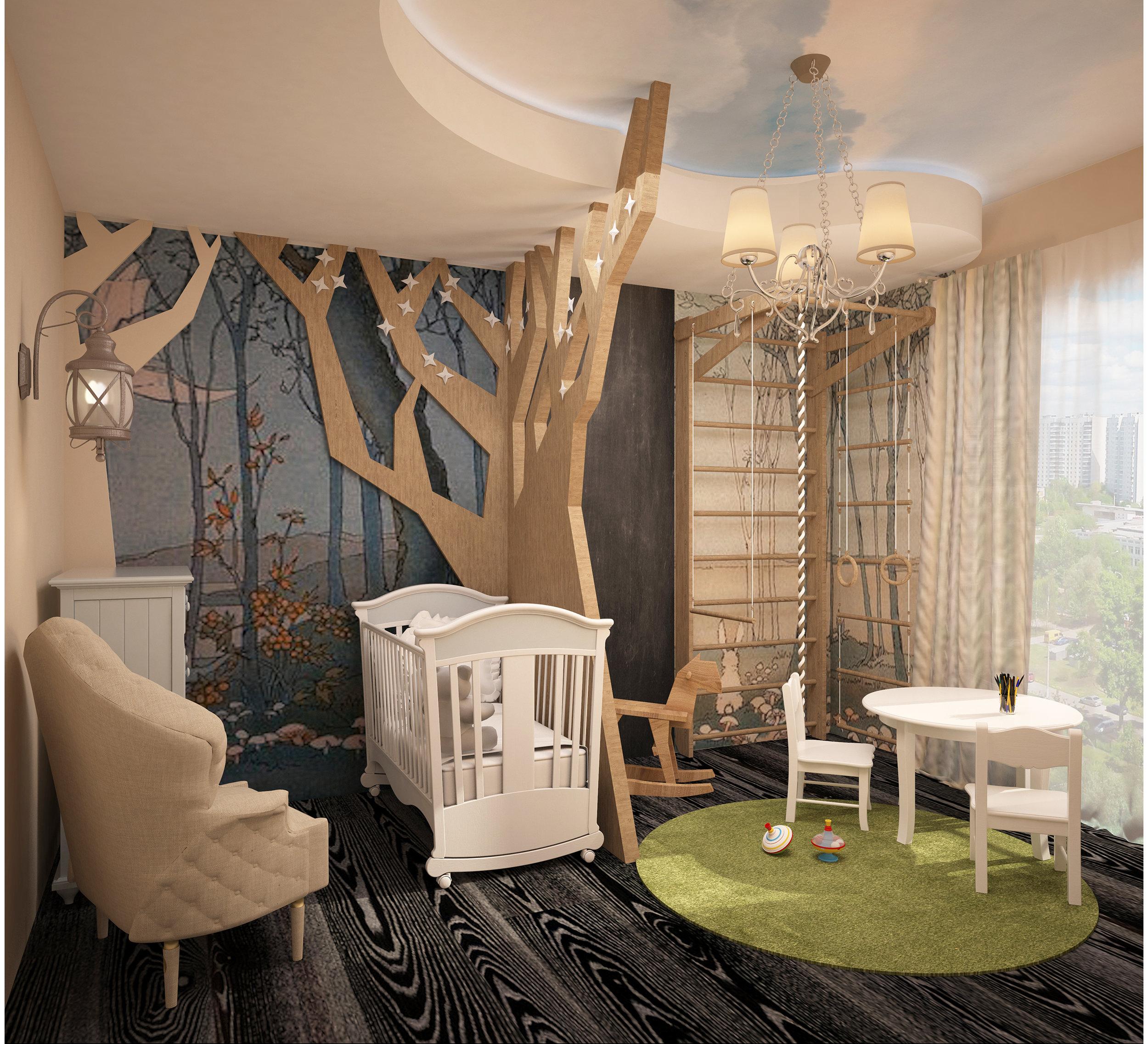 Nursery interior. Fairytale forest.