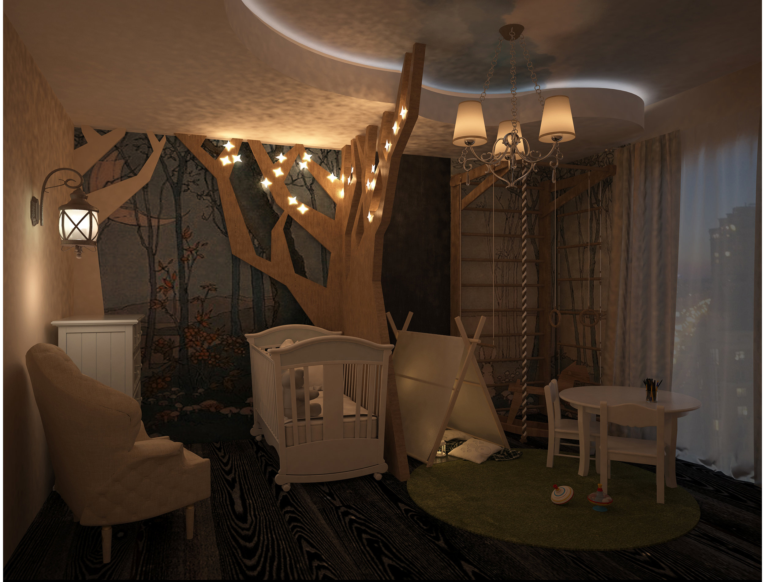 Magic forest nursery interior. Night view.