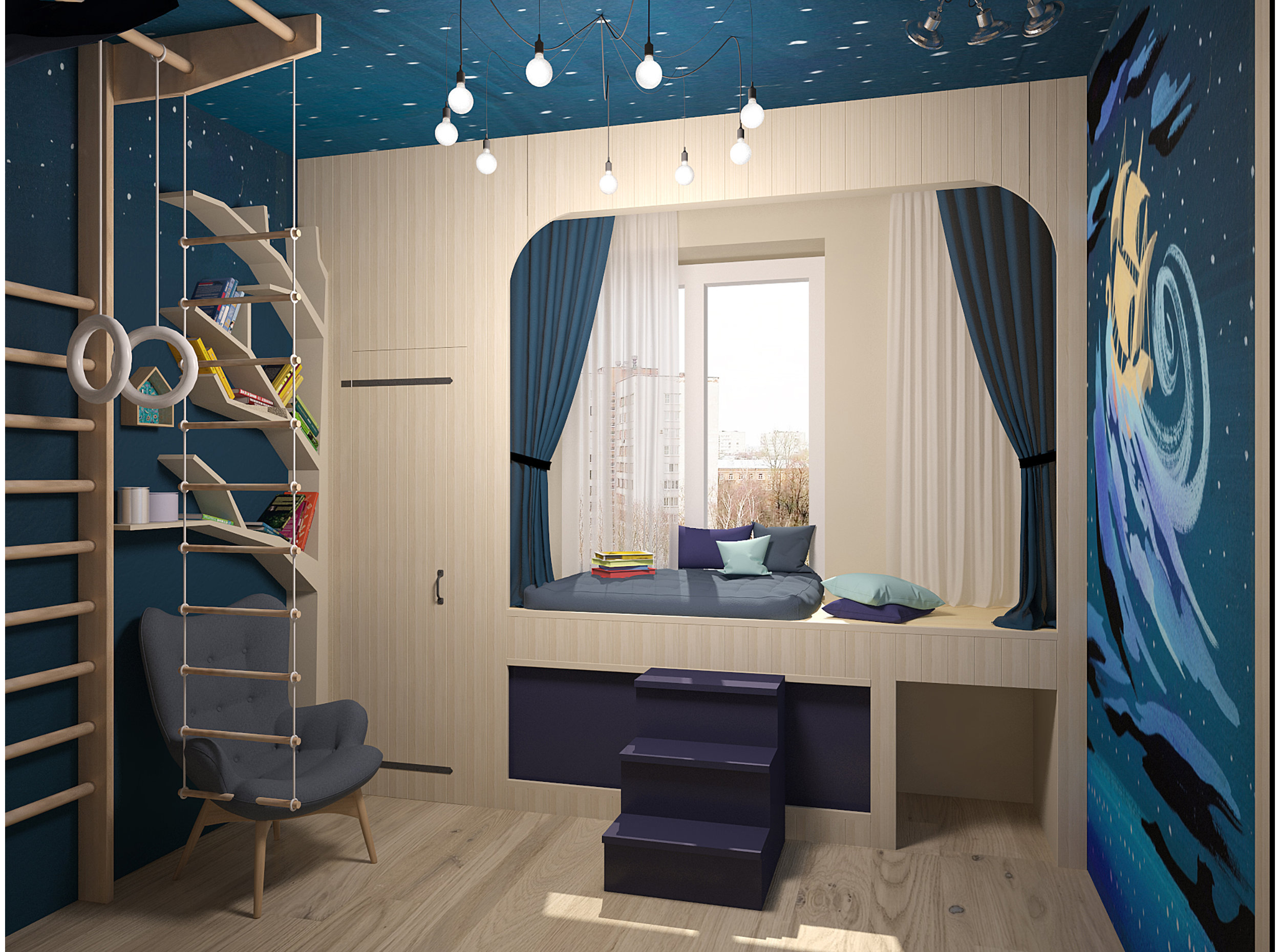Boy bedroom interior inspired by Peter Pan