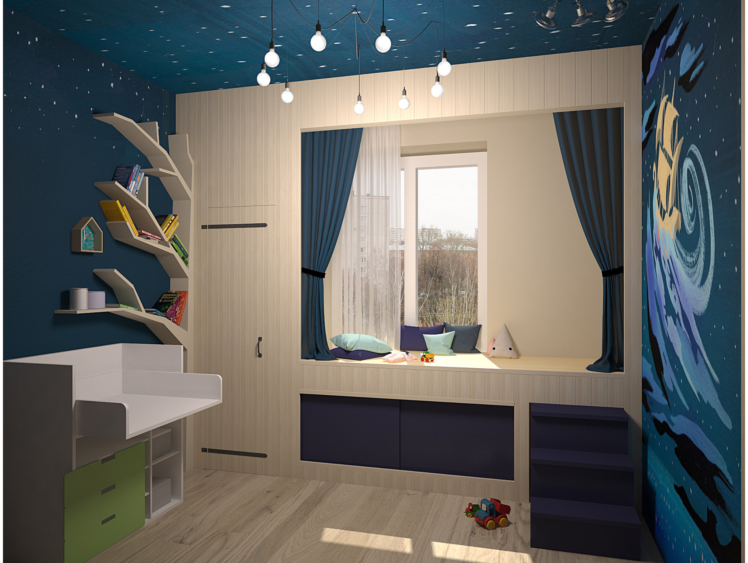 Boy bedroom interior