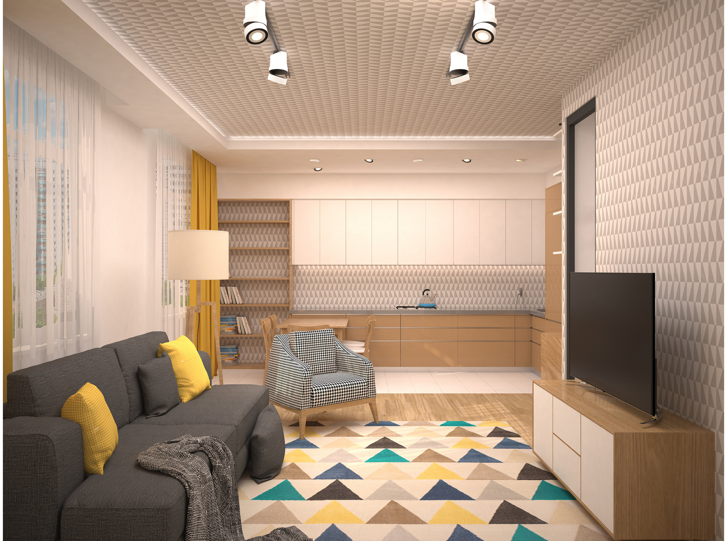 Copy of Scandinavian style kitchen/dining and living room interior