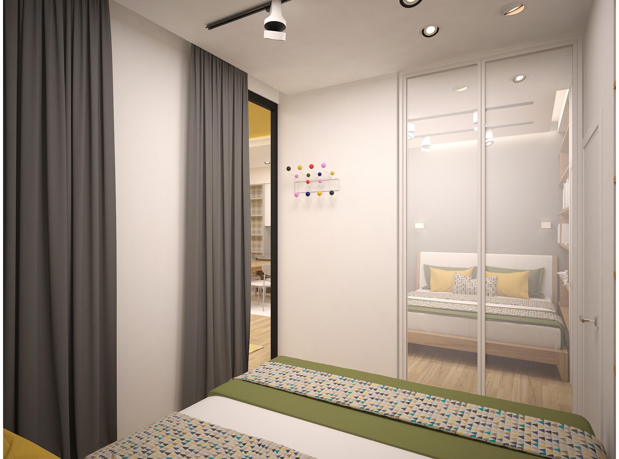 Copy of Scandinavian style small bedroom interior
