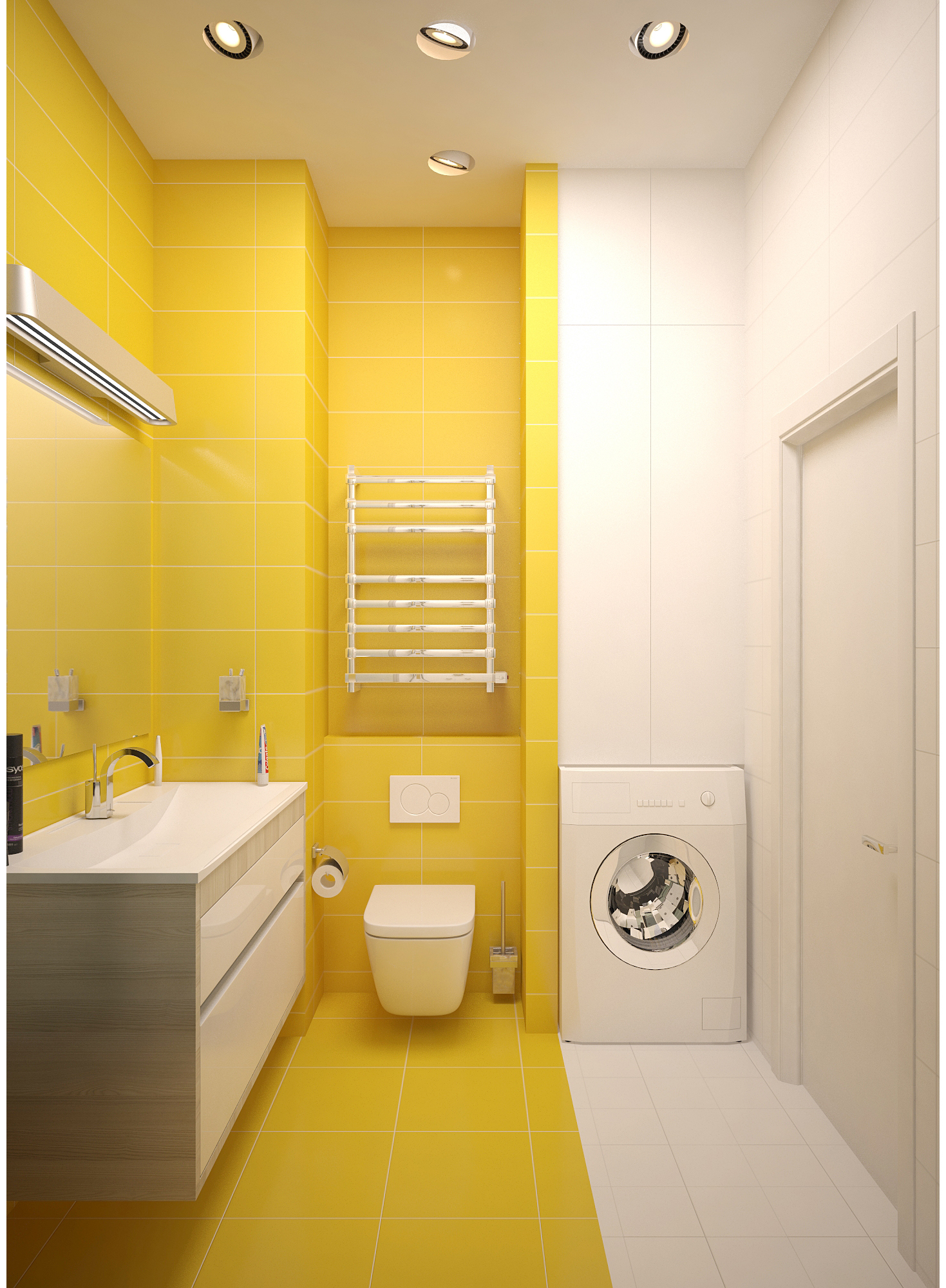 Copy of Yellow and white bathroom interior