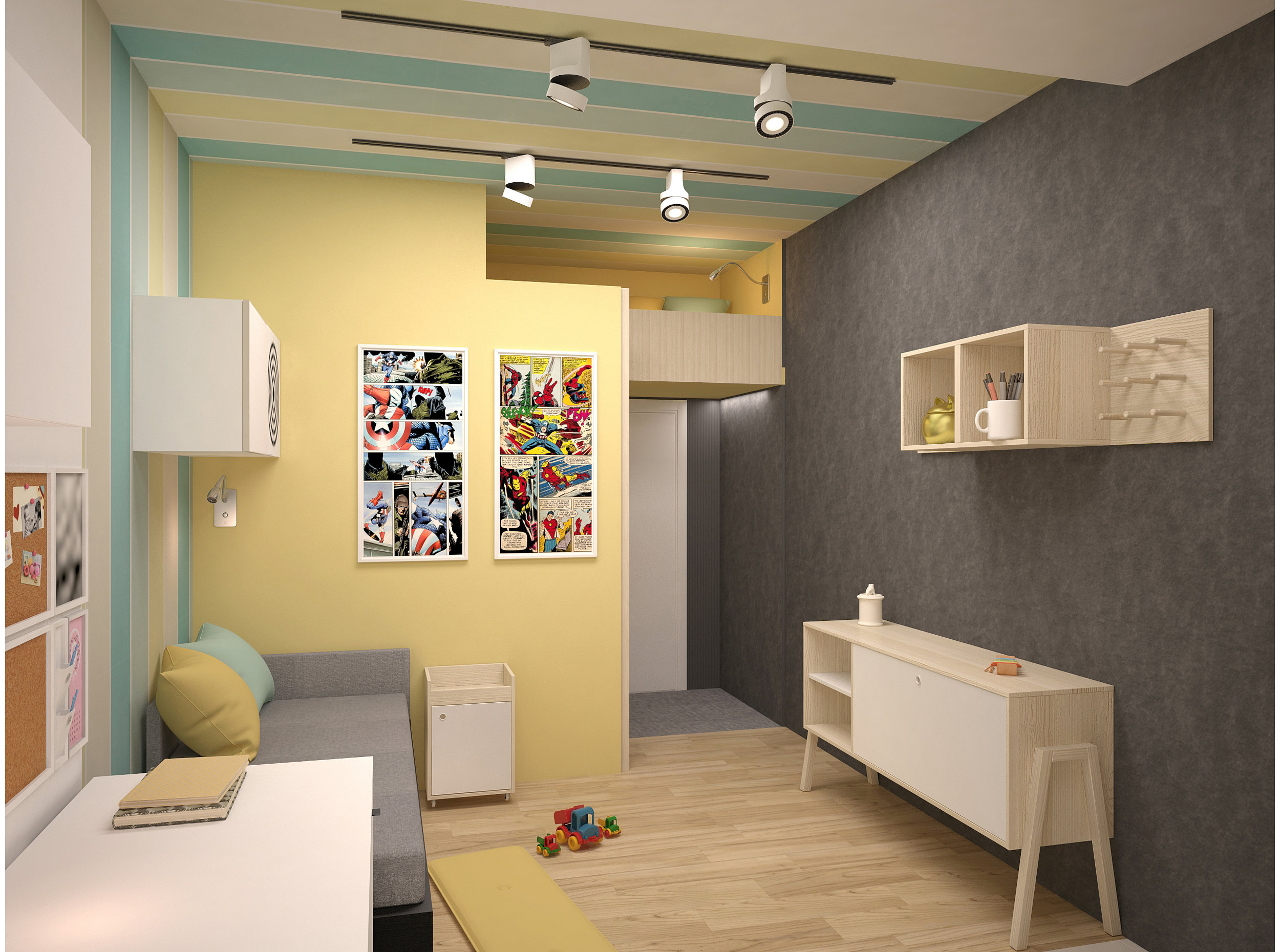 Copy of Boys room with bright colors and striped wallpaper.