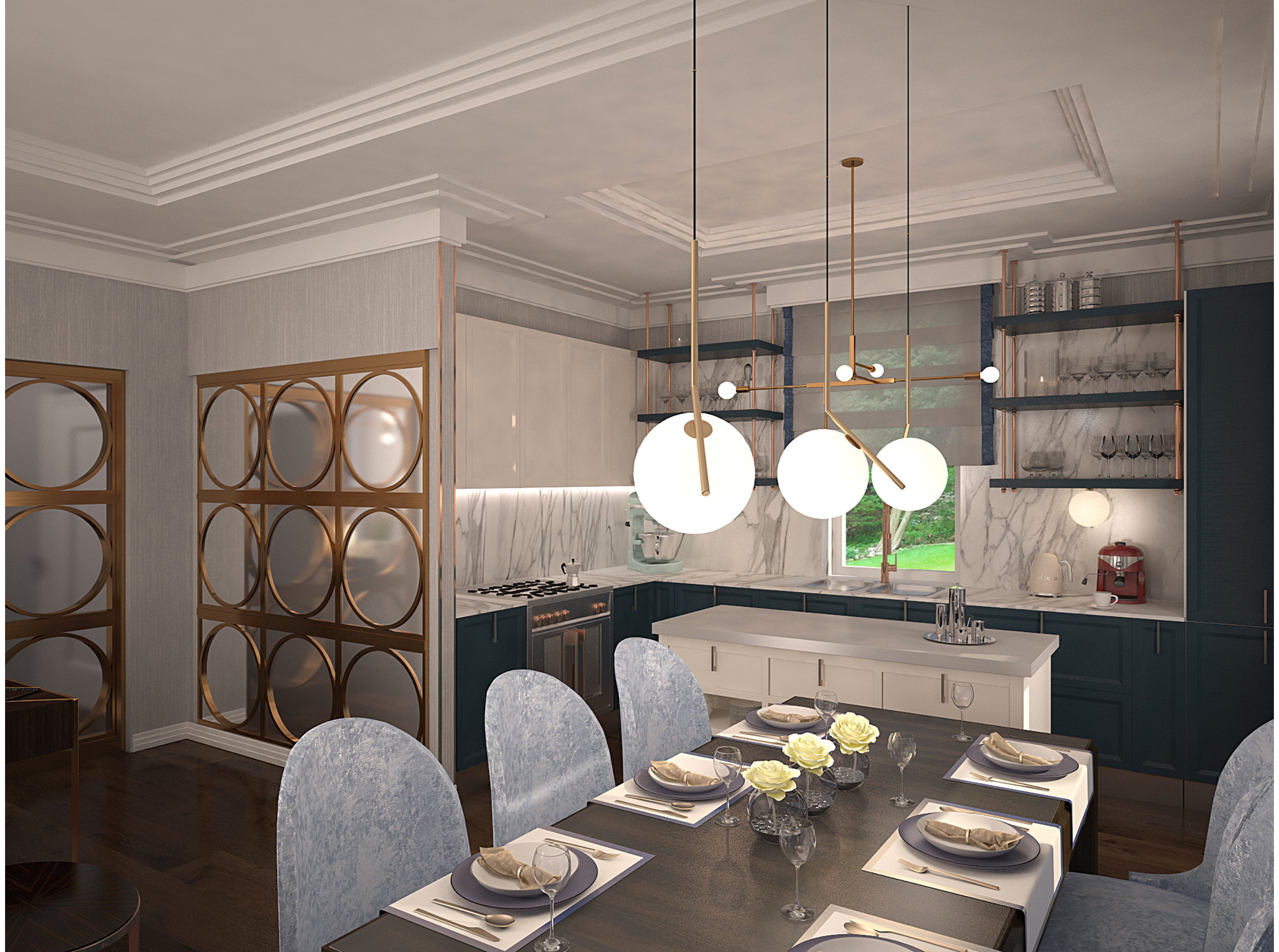 Copy of Kitchen/dining interior inspired by art deco style