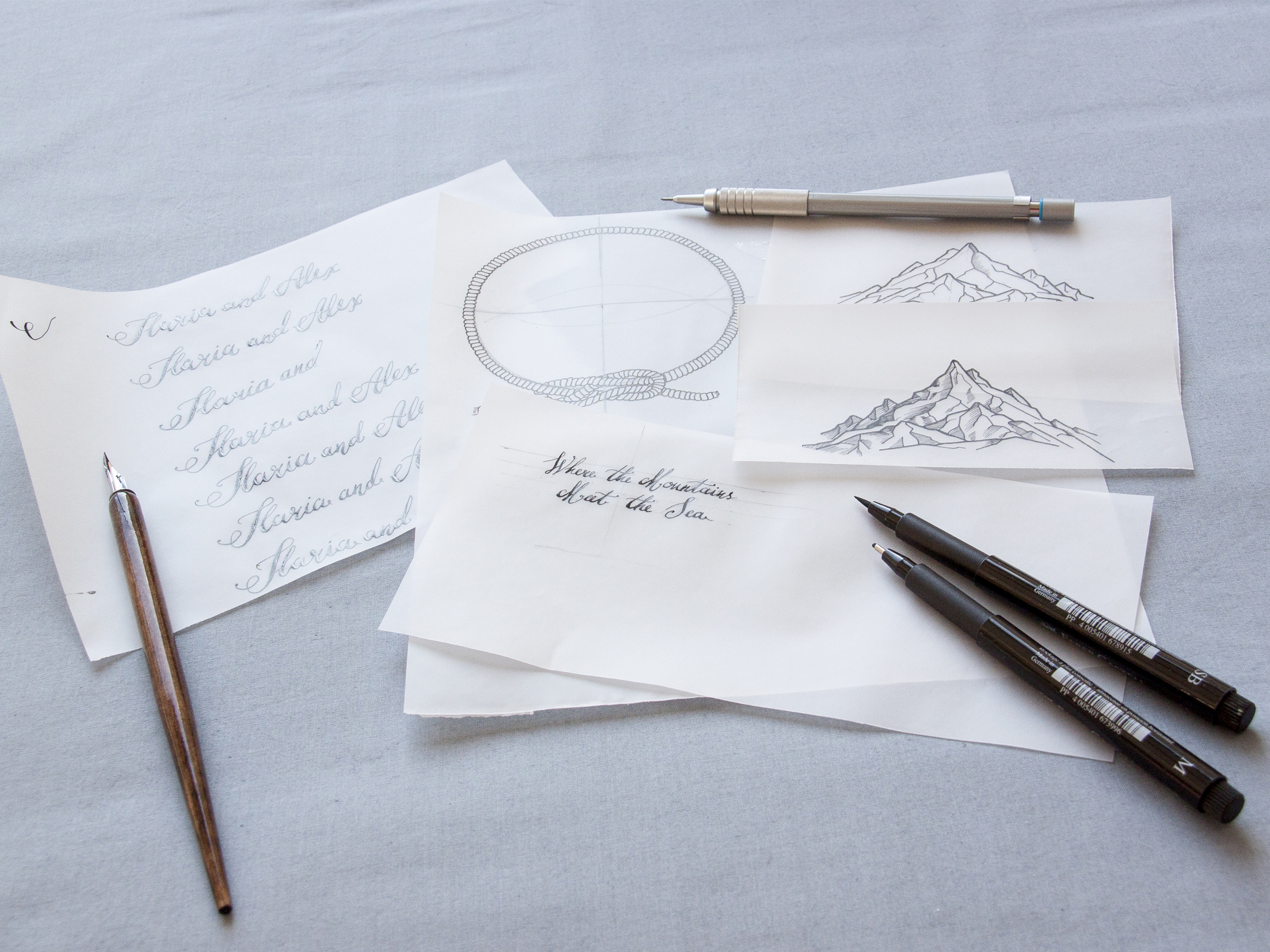 Copy of Creation process of a custom designed wedding invitation