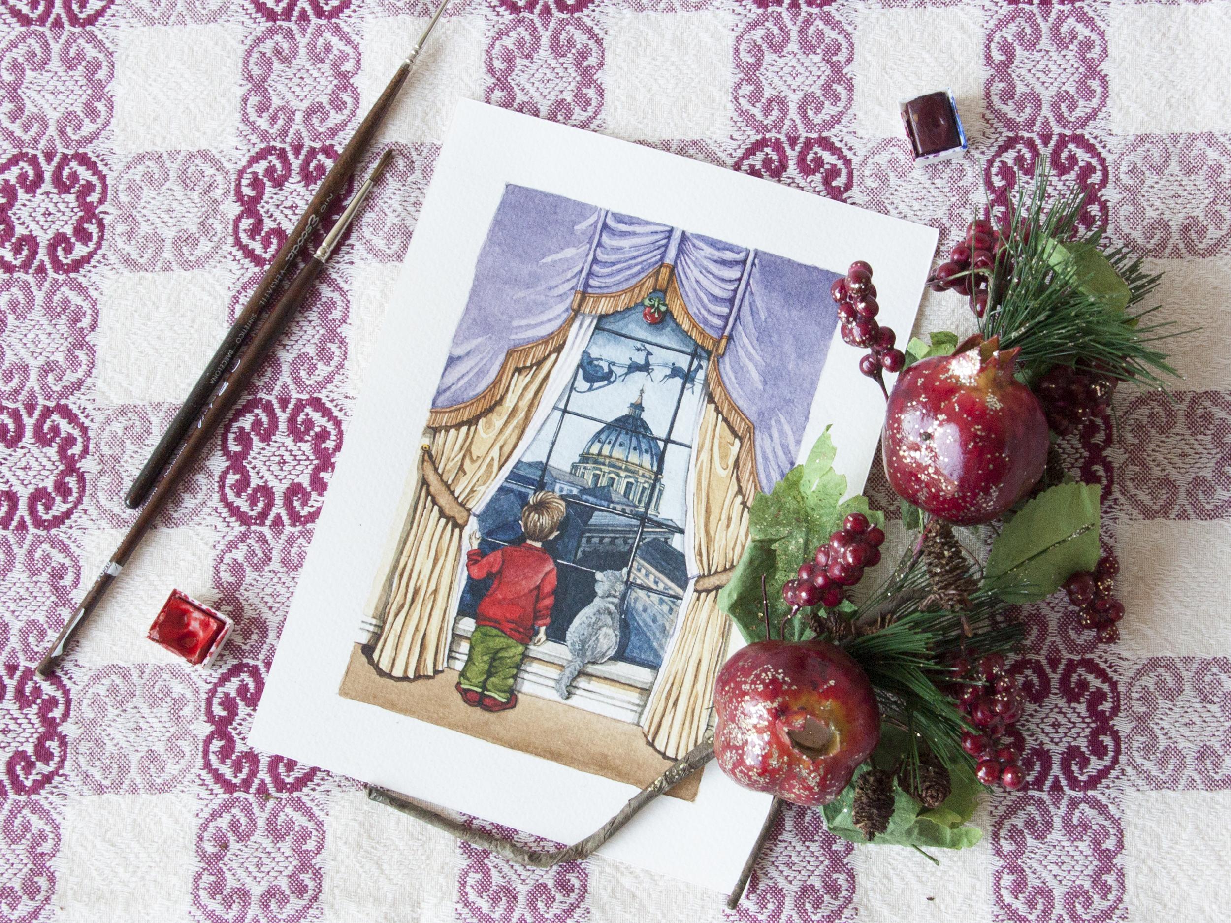 Biglietto di Natale con San Pietro