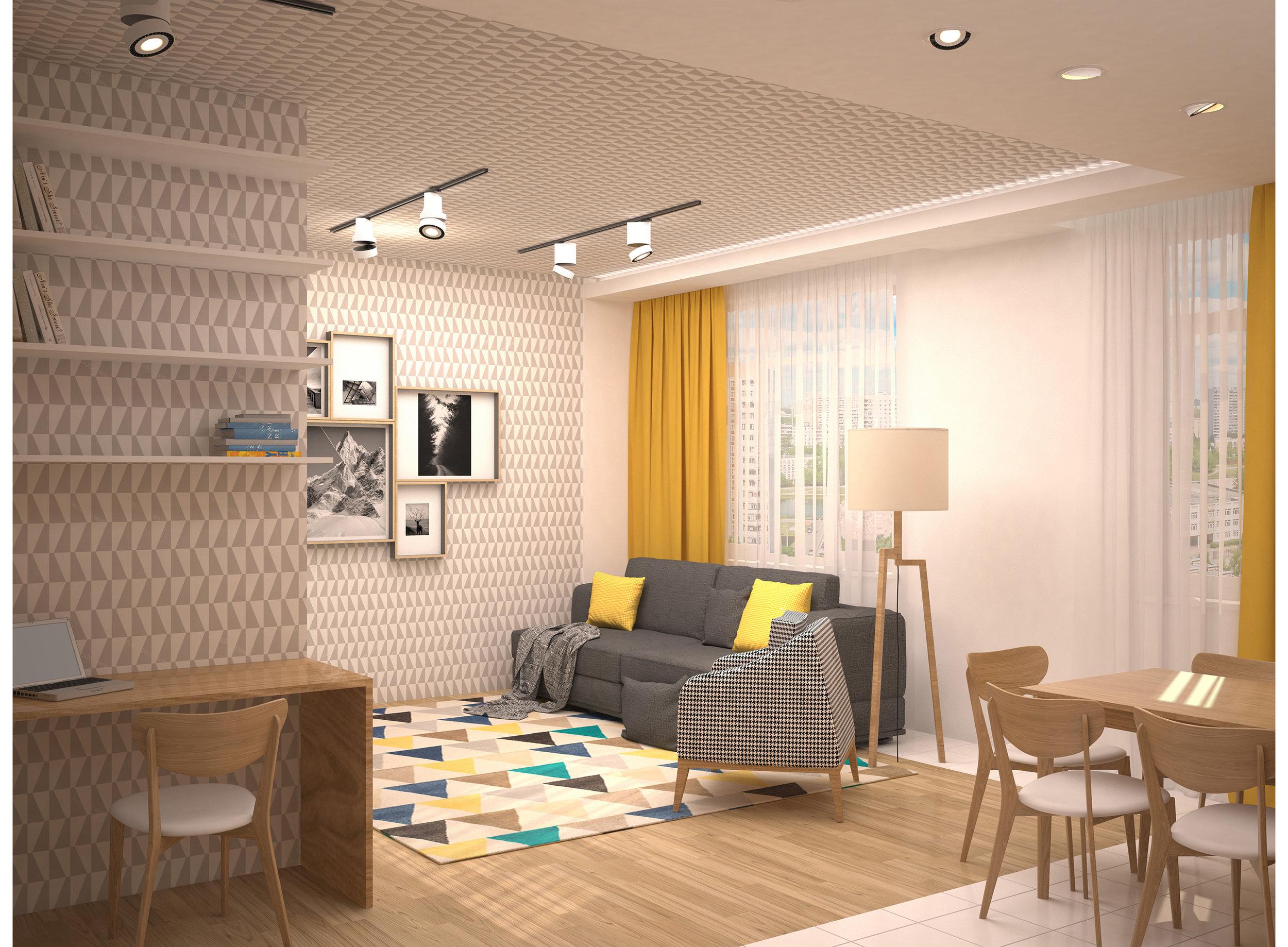 3D render del soggiorno in stile scandinavo