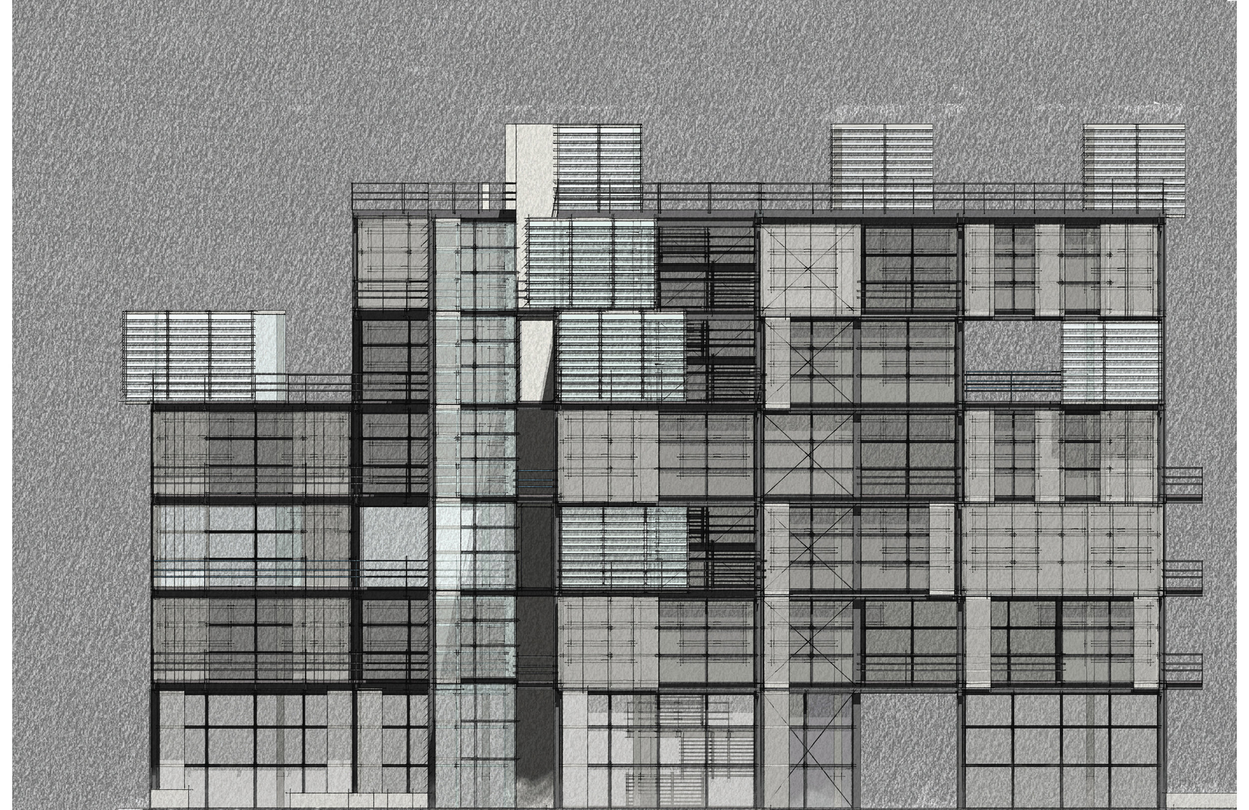 Artistic elevation render sketch style
