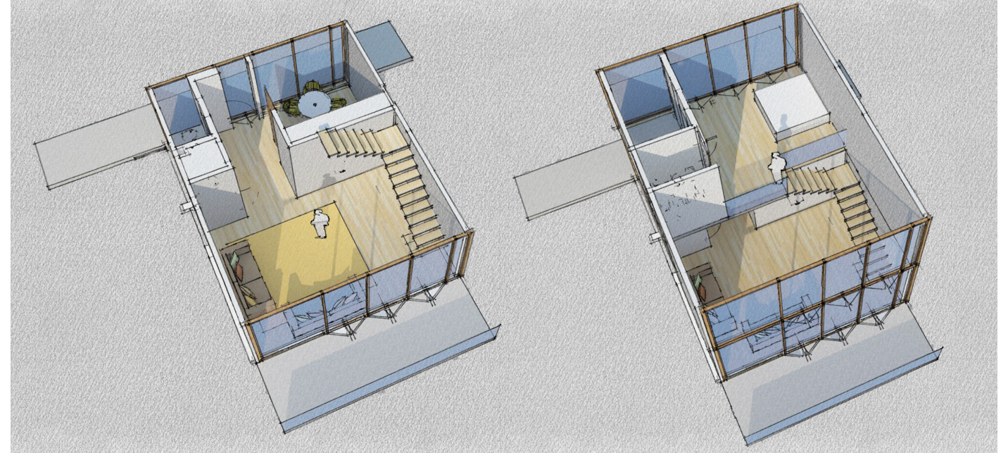 Duplex apartment layout 3D sketch